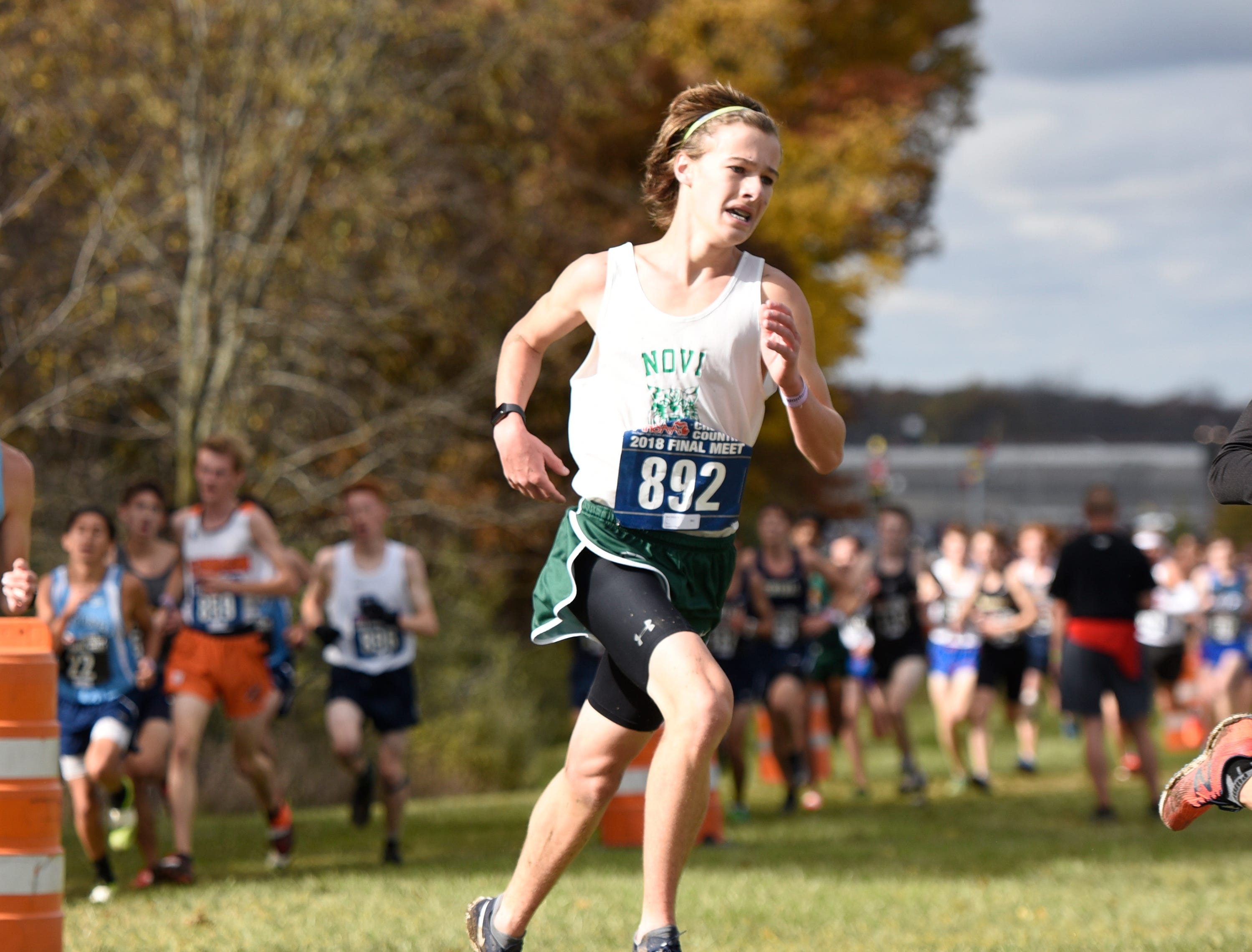 Novi's Matt Whyte (892) during the Division 1 2018 cross country finals at Michigan International Speedway.