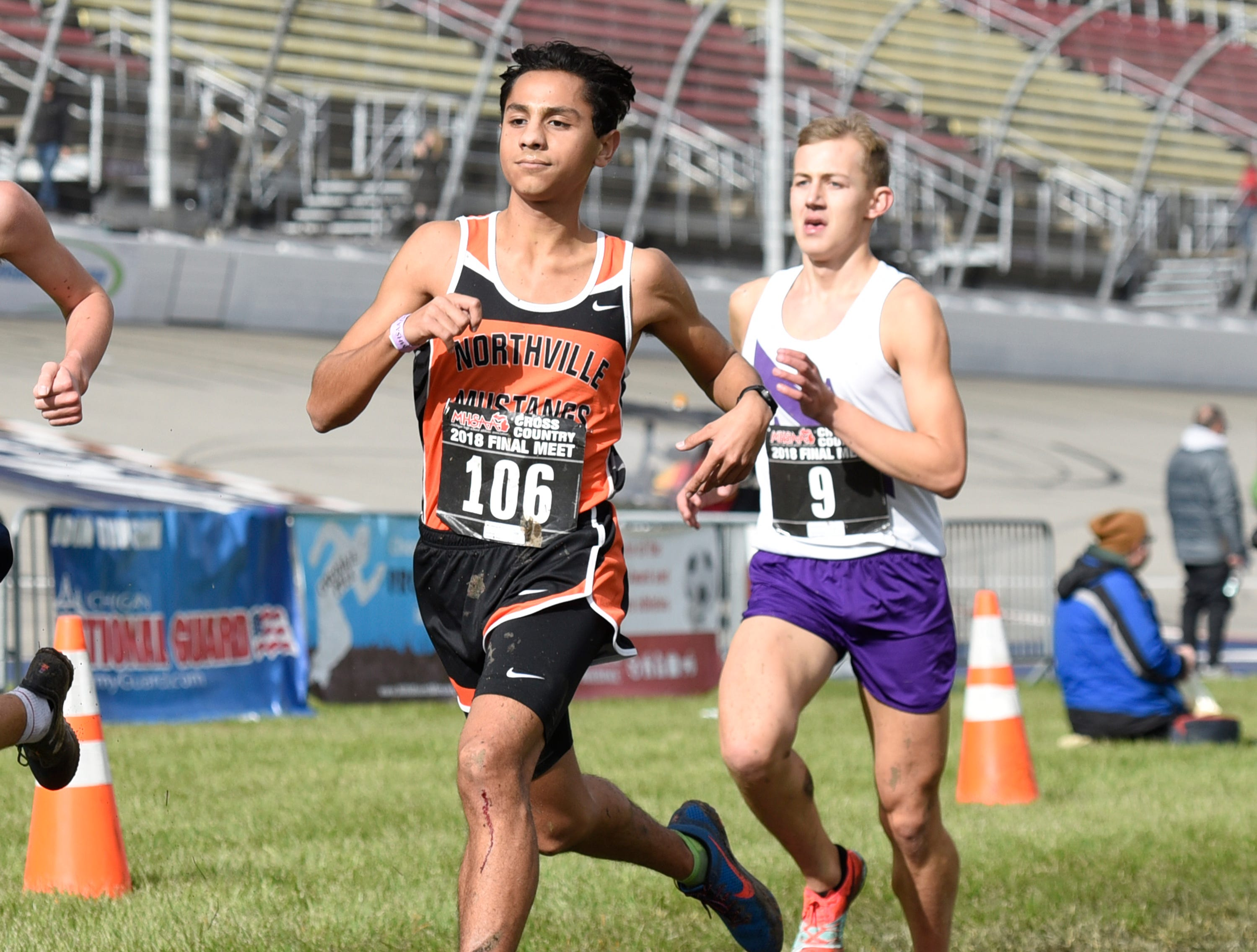 Northville's Ben Steinig during the Division 1 2018 cross country finals at Michigan International Speedway.