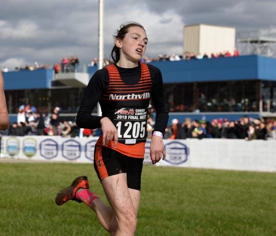 Northville's Keira Courtney during the Division 1 2018 cross country finals at Michigan International Speedway.
