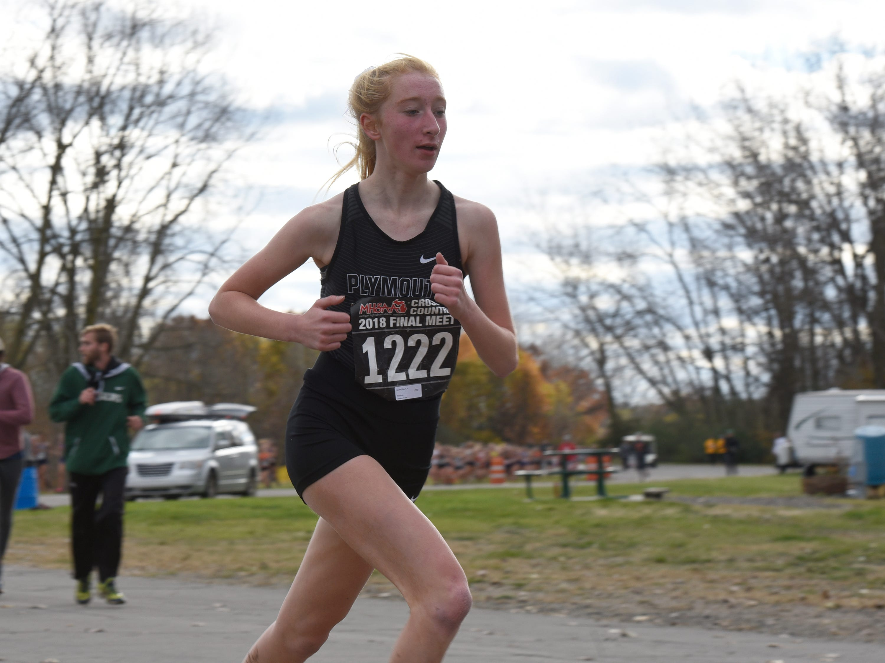 Plymouth's Lauren Kiley during the Division 1 2018 cross country finals at Michigan International Speedway.