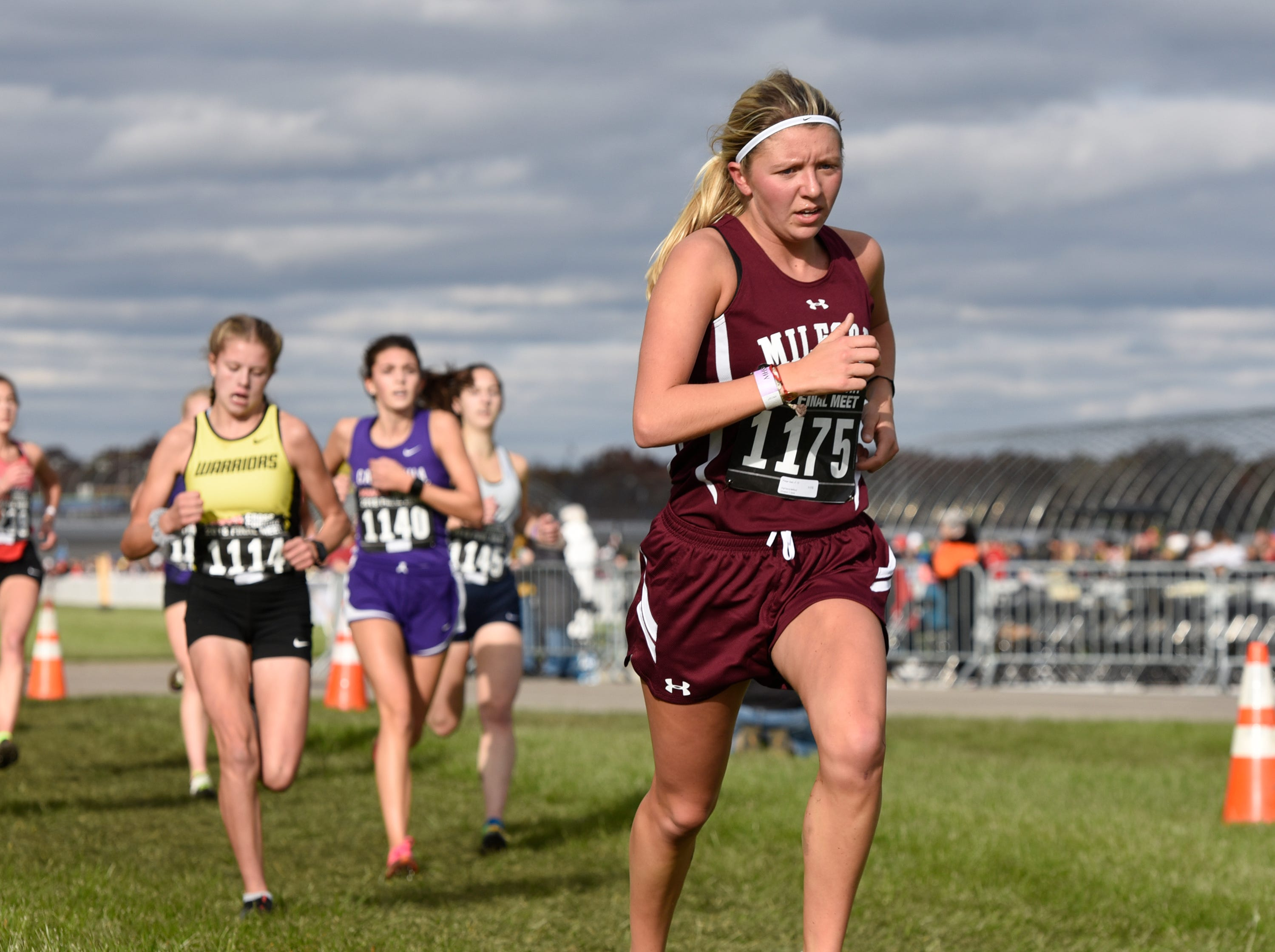 Milford's Paige Saiz during the Division 1 2018 cross country finals at Michigan International Speedway.