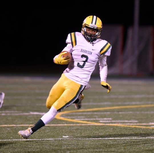 Farmington Harrison RB/DB Roderick Heard (3) during the Division 4 district playoff game against Detroit Country Day  played Nov. 2, 2018 at DCDS Shaw Stadium.
