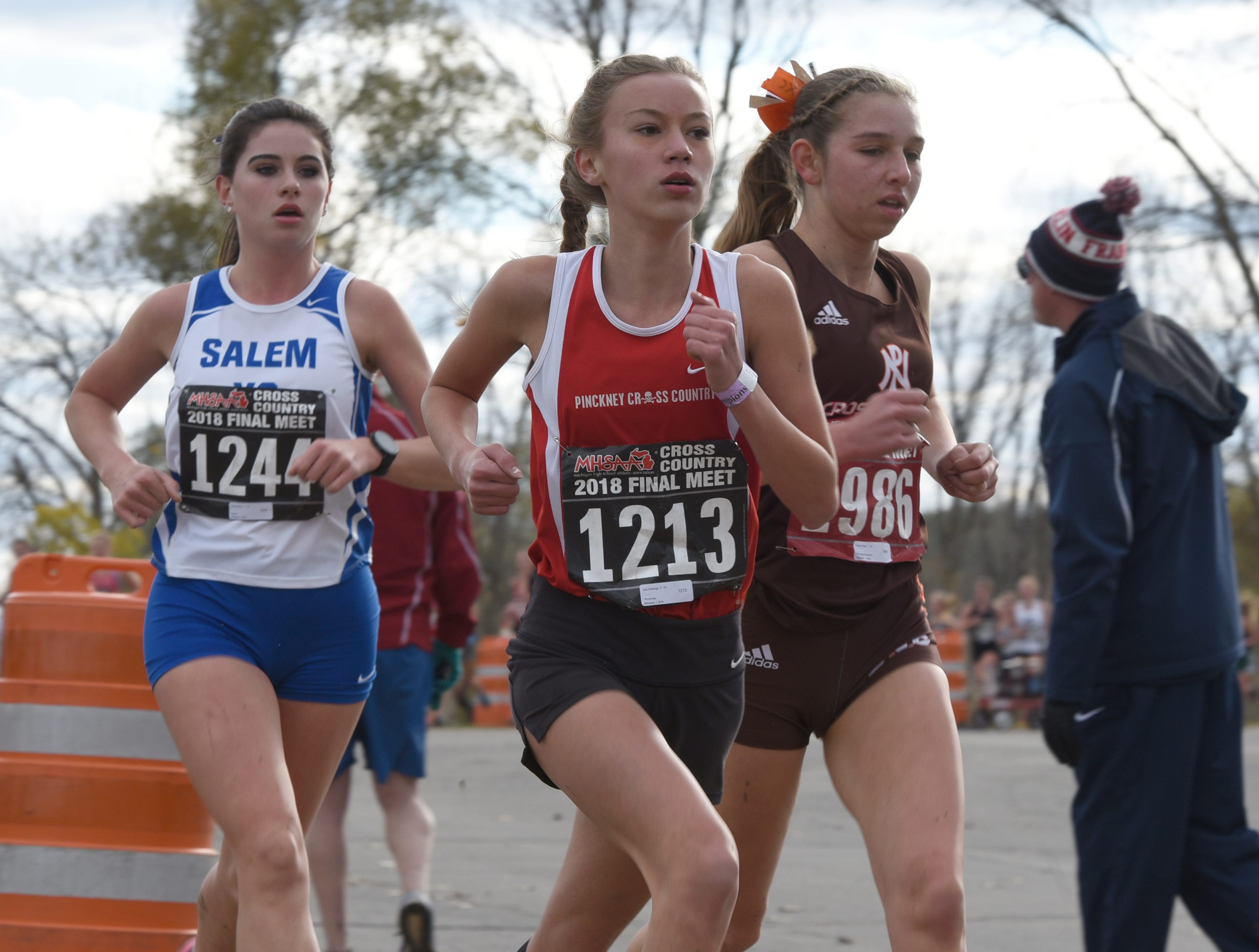 Pickney's Vivi Eddings during the Division 1 2018 cross country finals at Michigan International Speedway.
