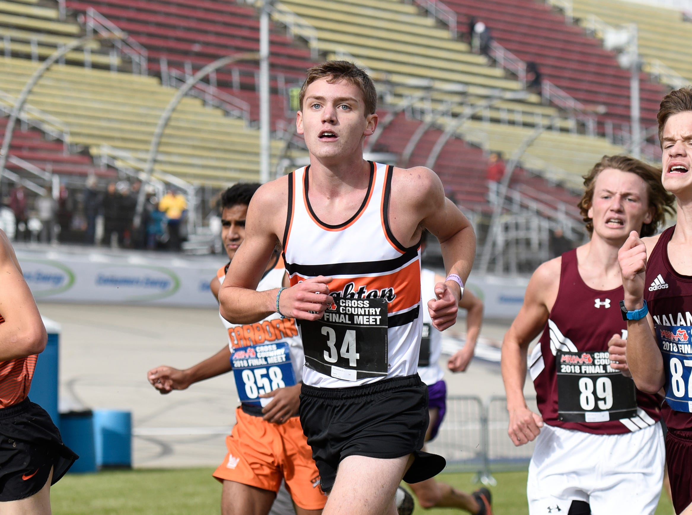 Brighton's Scott Spaanstra  during the Division 1 2018 cross country finals at Michigan International Speedway.