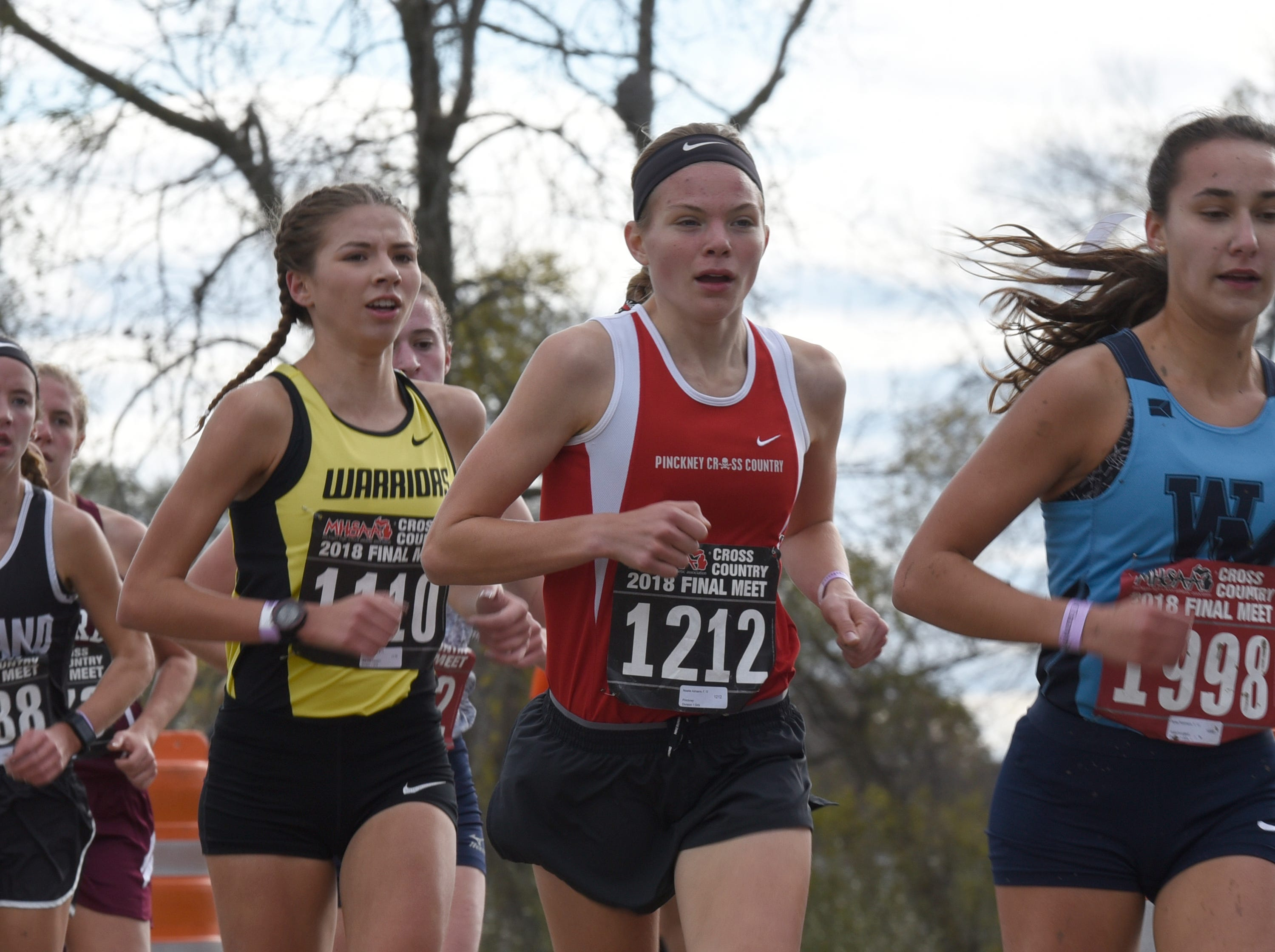 Pickney's Noelle Adriaens during the Division 1 2018 cross country finals at Michigan International Speedway.
