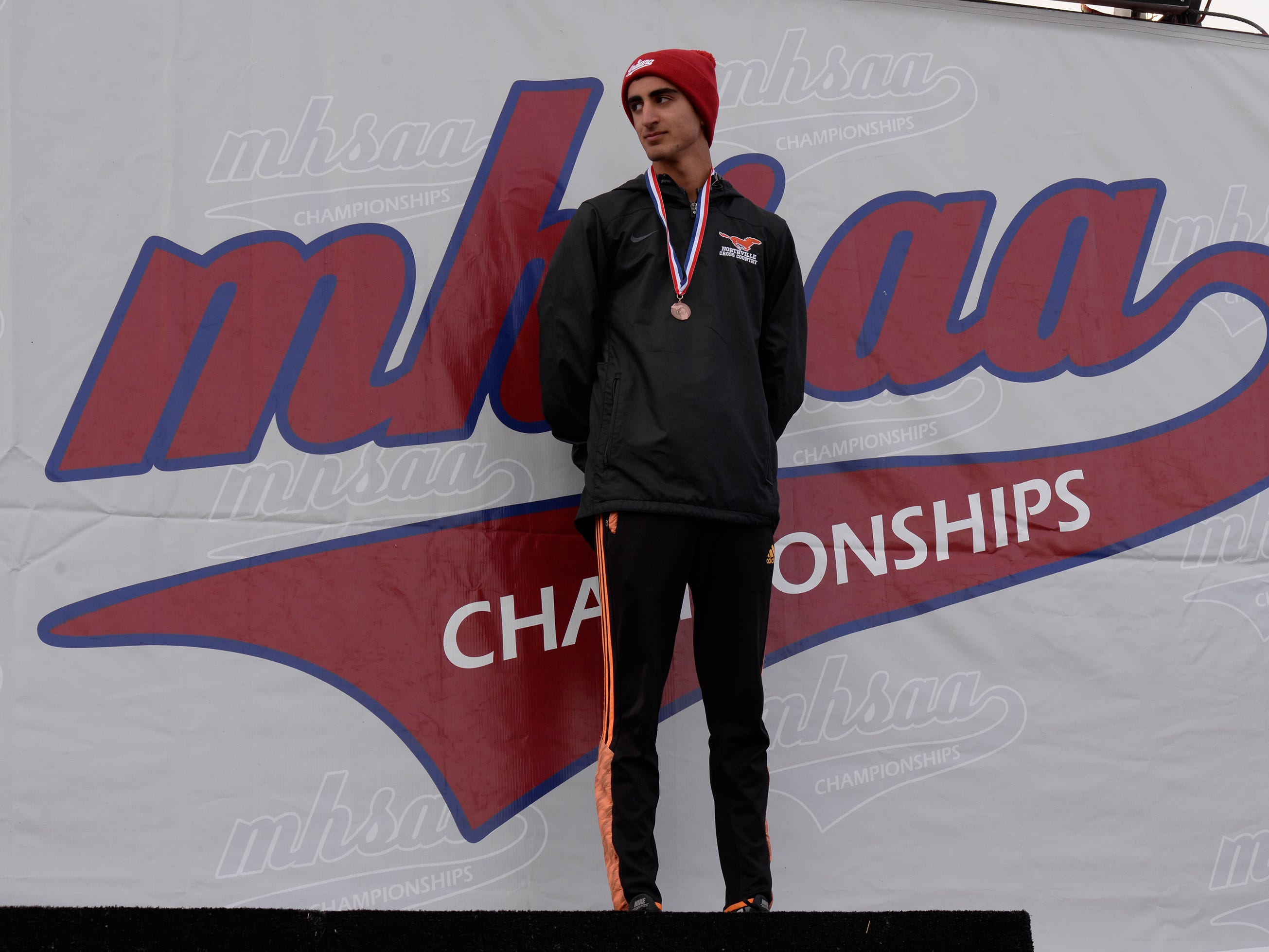 Norhtville's Nicholas Couyoumjian finished in 30th place at the Division 1 2018 cross country finals at Michigan International Speedway.