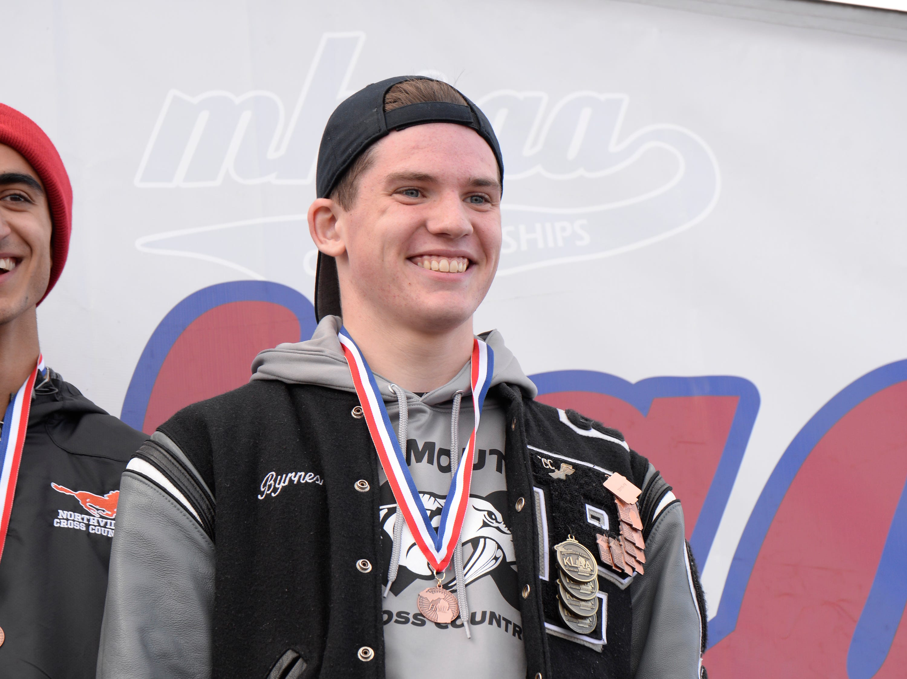 Plymouth's Patrick Brynes finished in 15 th place at the Division 1 2018 cross country finals at Michigan International Speedway.