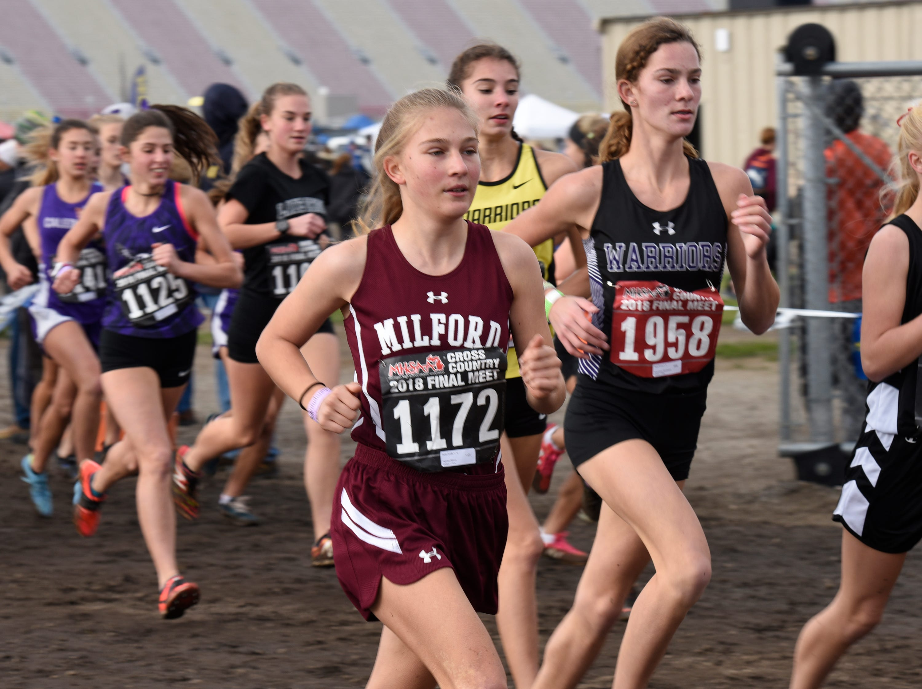 Milford's Skylar Grubb (1172) during the Division 1 2018 cross country finals at Michigan International Speedway.
