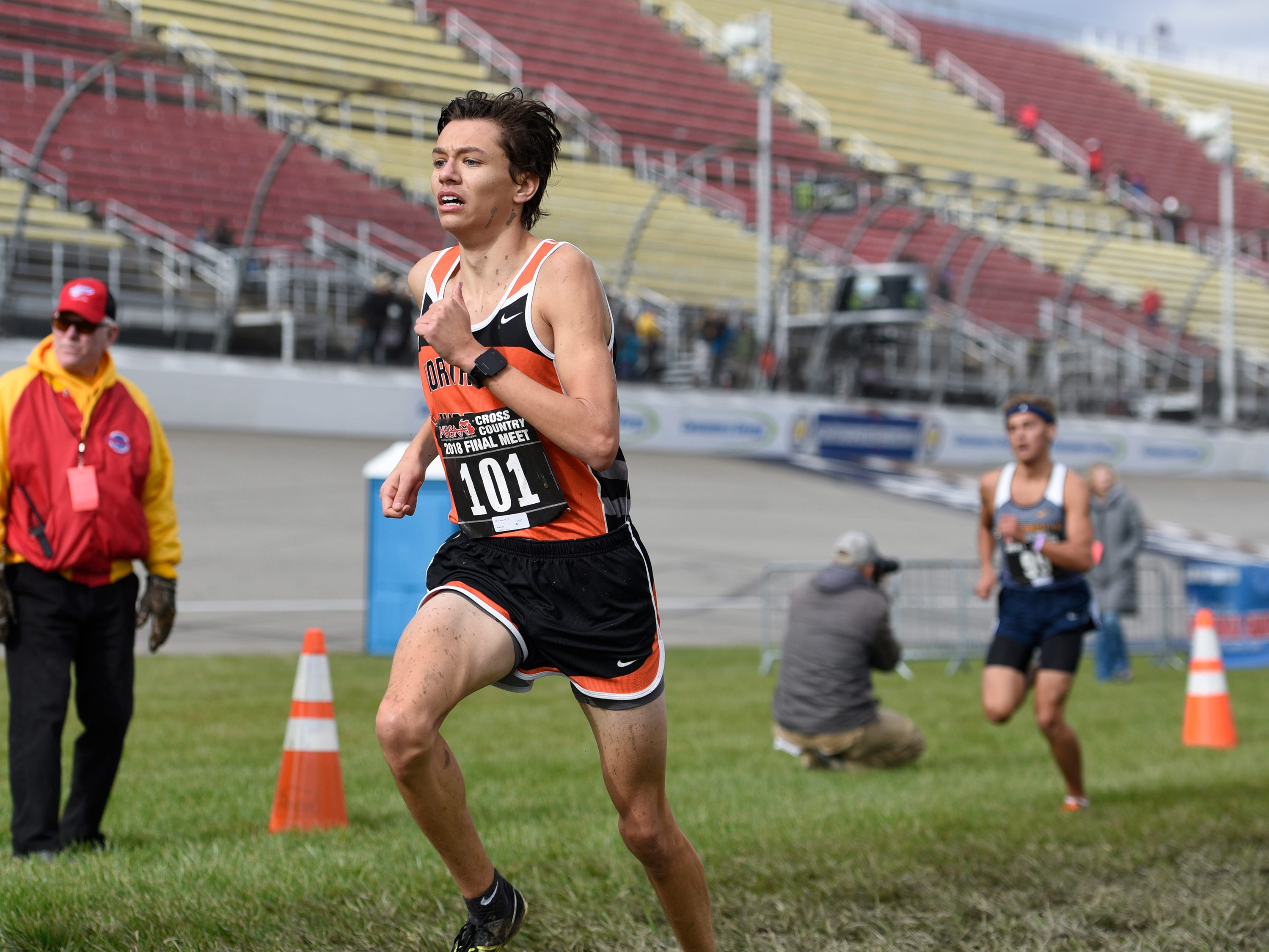 Northville's Alex Flegal durng the Division 1 2018 cross country finals at Michigan International Speedway.