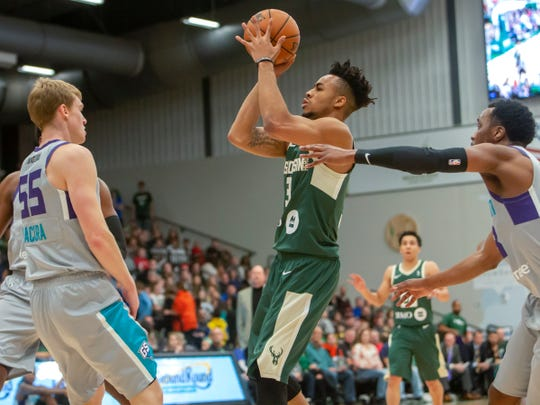 Jaylen Morris of the Wisconsin Herd shoots during a November 2018 game at Menominee Nation Arena in Oshkosh.