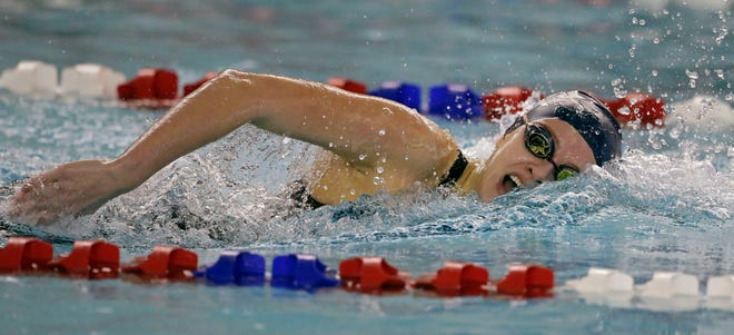 Emma Lasecki of Bay Port swims the 200-yard individual medley at the WIAA Division 1 sectional meet in Neenah on Saturday.