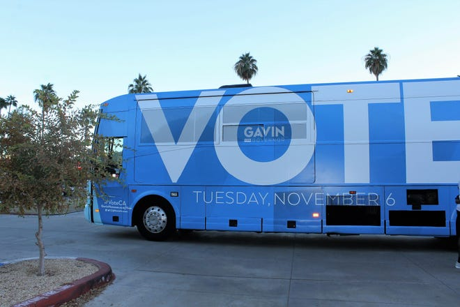 Lt. Governor Gavin Newsom arrived in a Vote bus.