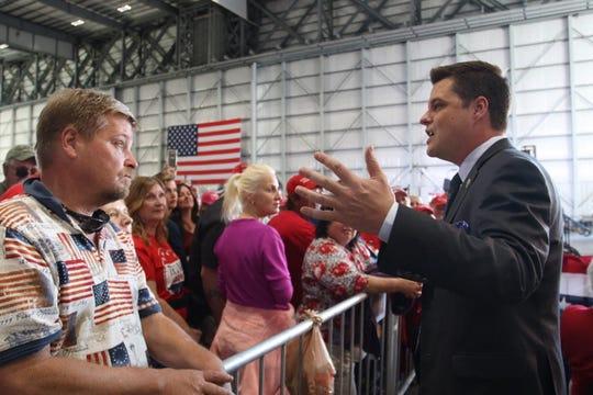Florida Congressman Matt Gaetz greets members of the crowd before Donald Trump's rally in Pensacola on Nov. 3.