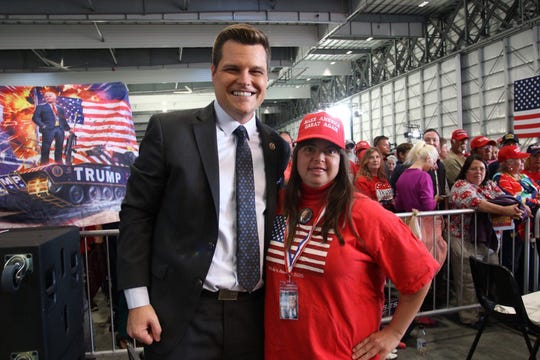 U.S. Rep. Matt Gaetz, R-Florida, greets members of the crowd before Donald Trump rally in Pensacola on Saturday, Nov. 3, 2018.