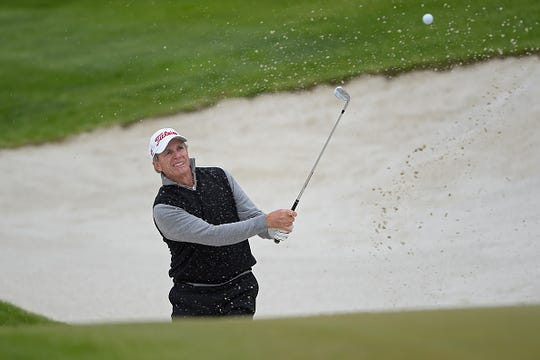 RIDGEDALE, MO - APRIL 24: Jerry Pate plays from a bunker on the 9th hole during the first round of the Champions Tour Bass Pro Shops Legends of Golf at Big Cedar Lodge at Top of the Rock on April 24, 2015 in Ridgedale, Missouri. (Photo by Chris Condon/US PGA TOUR)