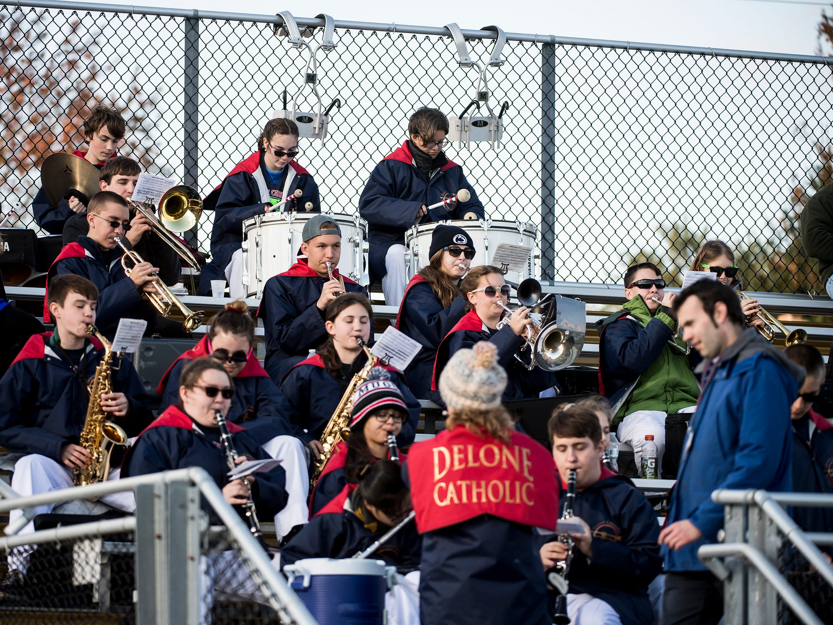 The Delone Catholic Squires marching band play during a District III Class 2A semifinal game against Upper Dauphin on Saturday, November 3, 2018. The Squires won 48-23.