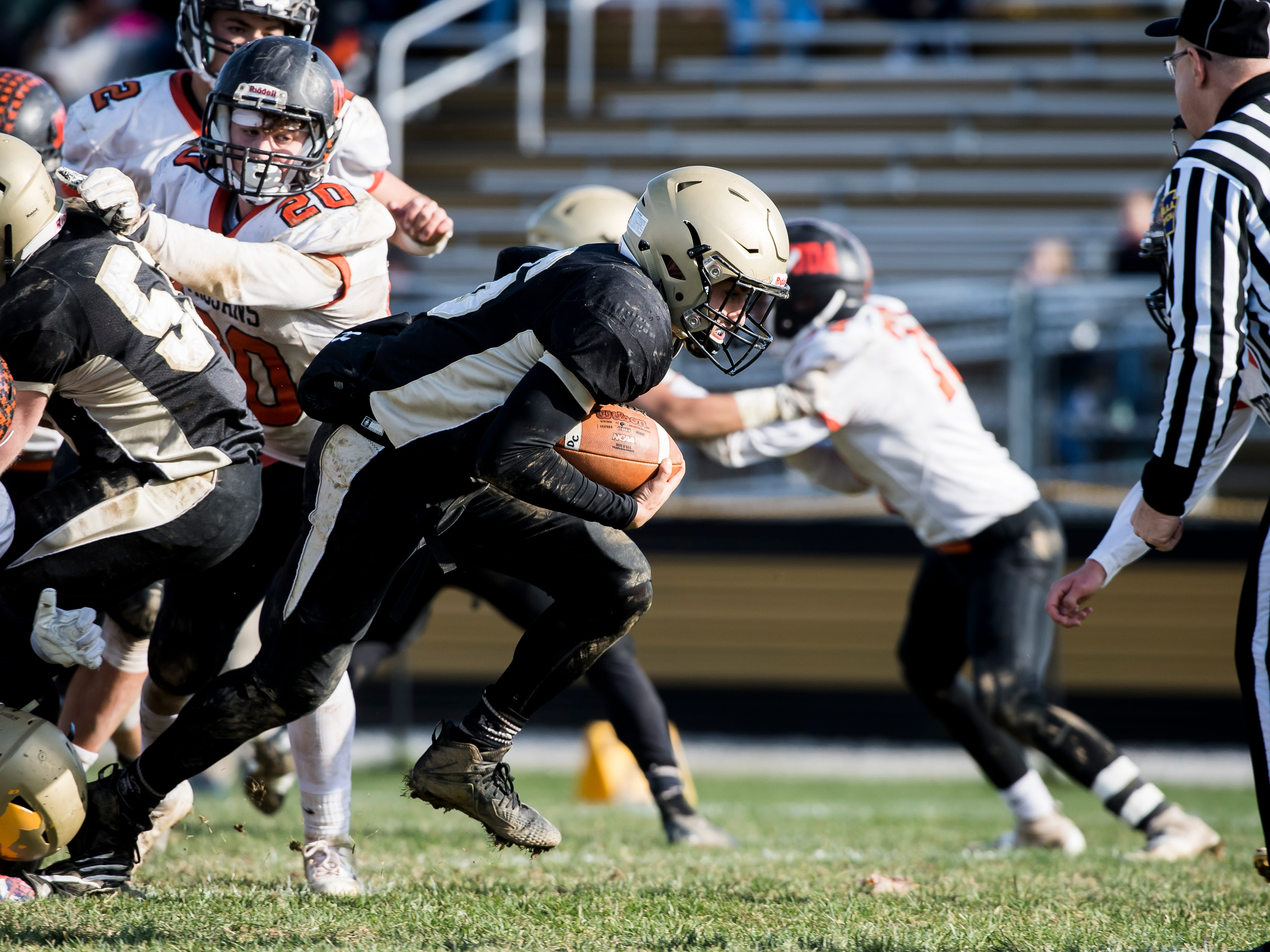 Delone Catholic's Evan Brady rushes into the end zone to score a touchdown during a District III Class 2A semifinal game against Upper Dauphin on Saturday, November 3, 2018. The Squires won 48-23.