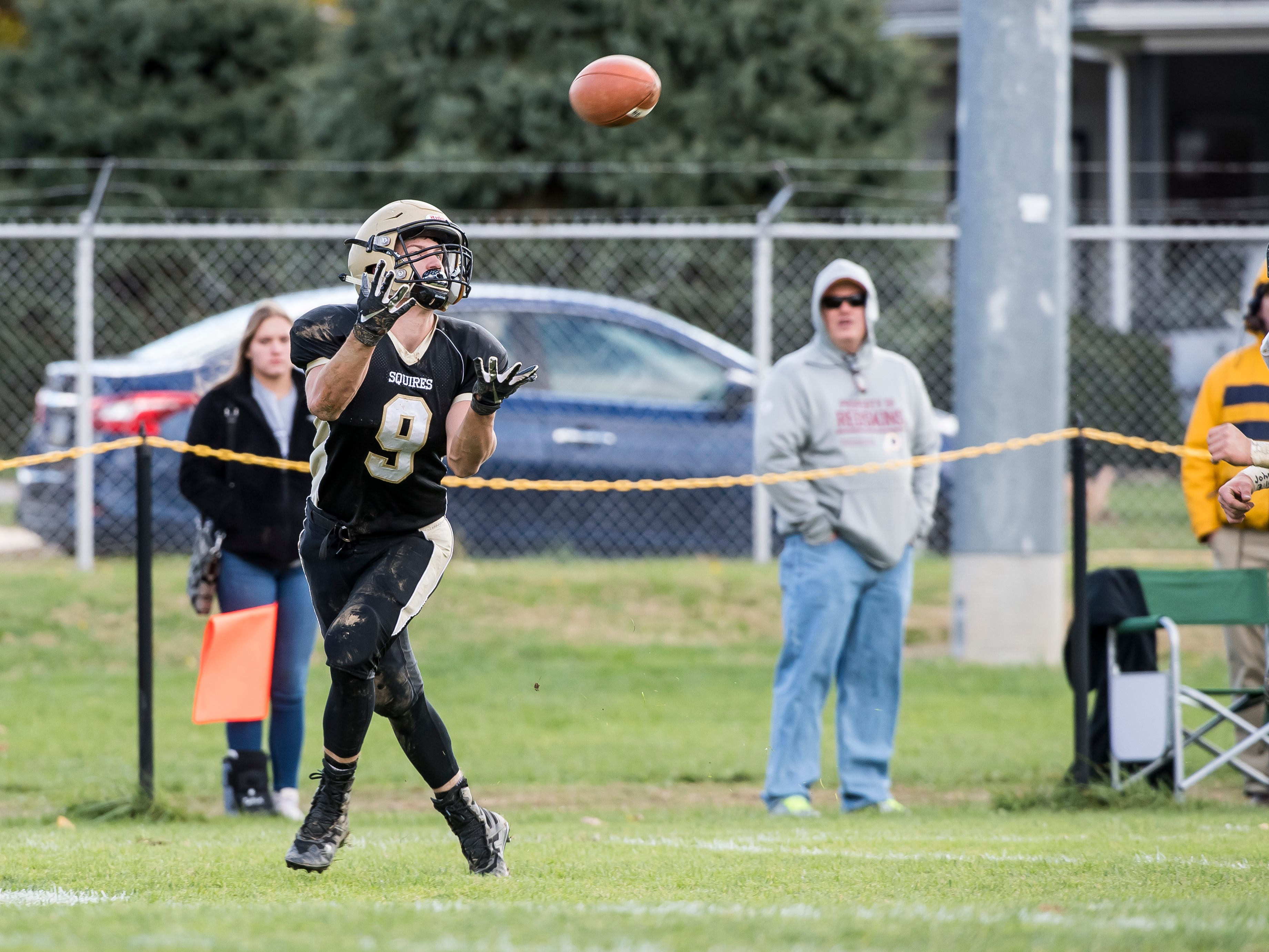 Delone Catholic's Logan Brown beats the defense to make a catch during a District III Class 2A semifinal game against Upper Dauphin on Saturday, November 3, 2018. The Squires won 48-23.