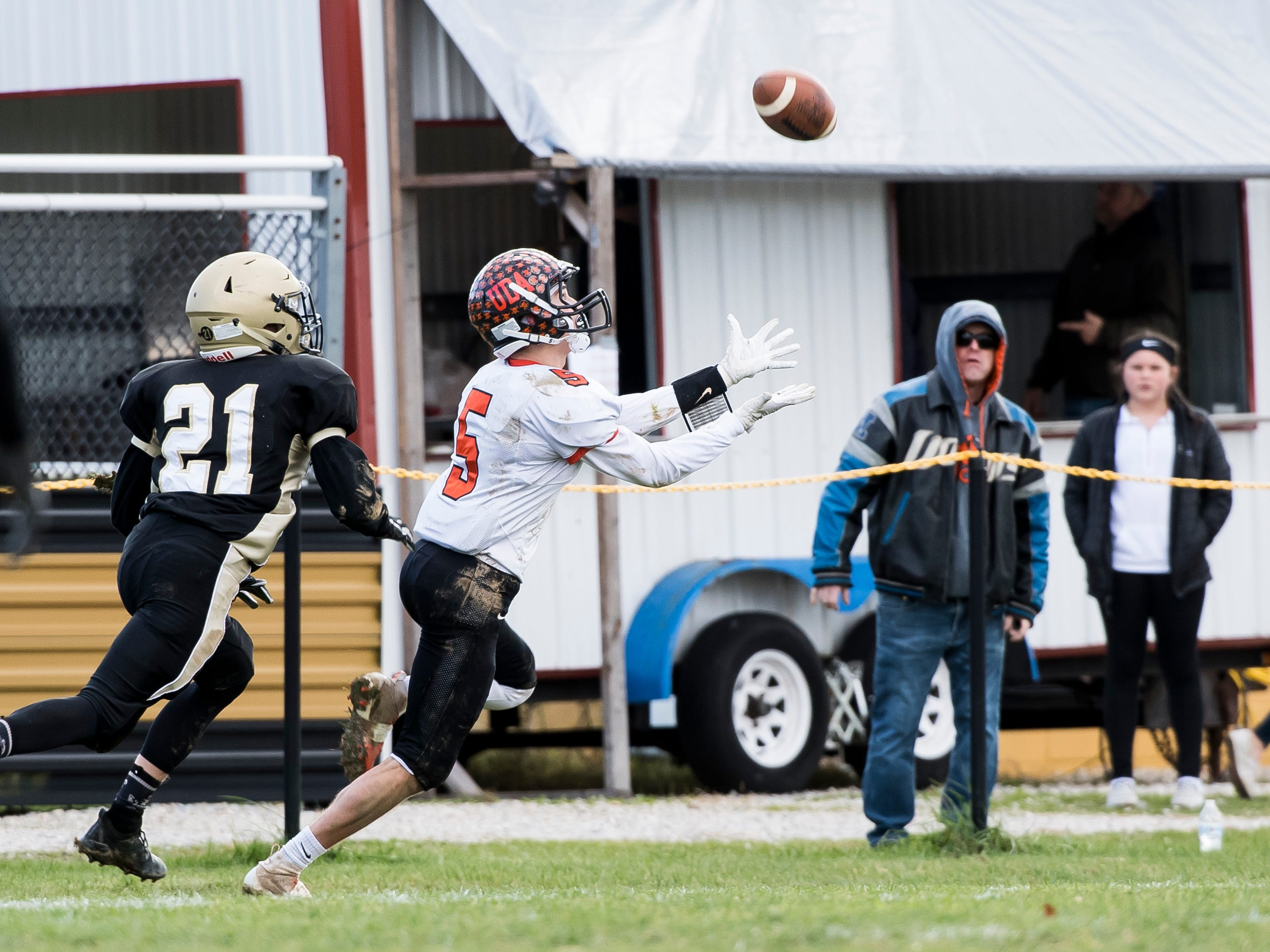 Upper Dauphin's Zach Rupp hauls in a catch during a District III Class 2A semifinal game against Delone Catholic on Saturday, November 3, 2018. The Squires won 48-23.
