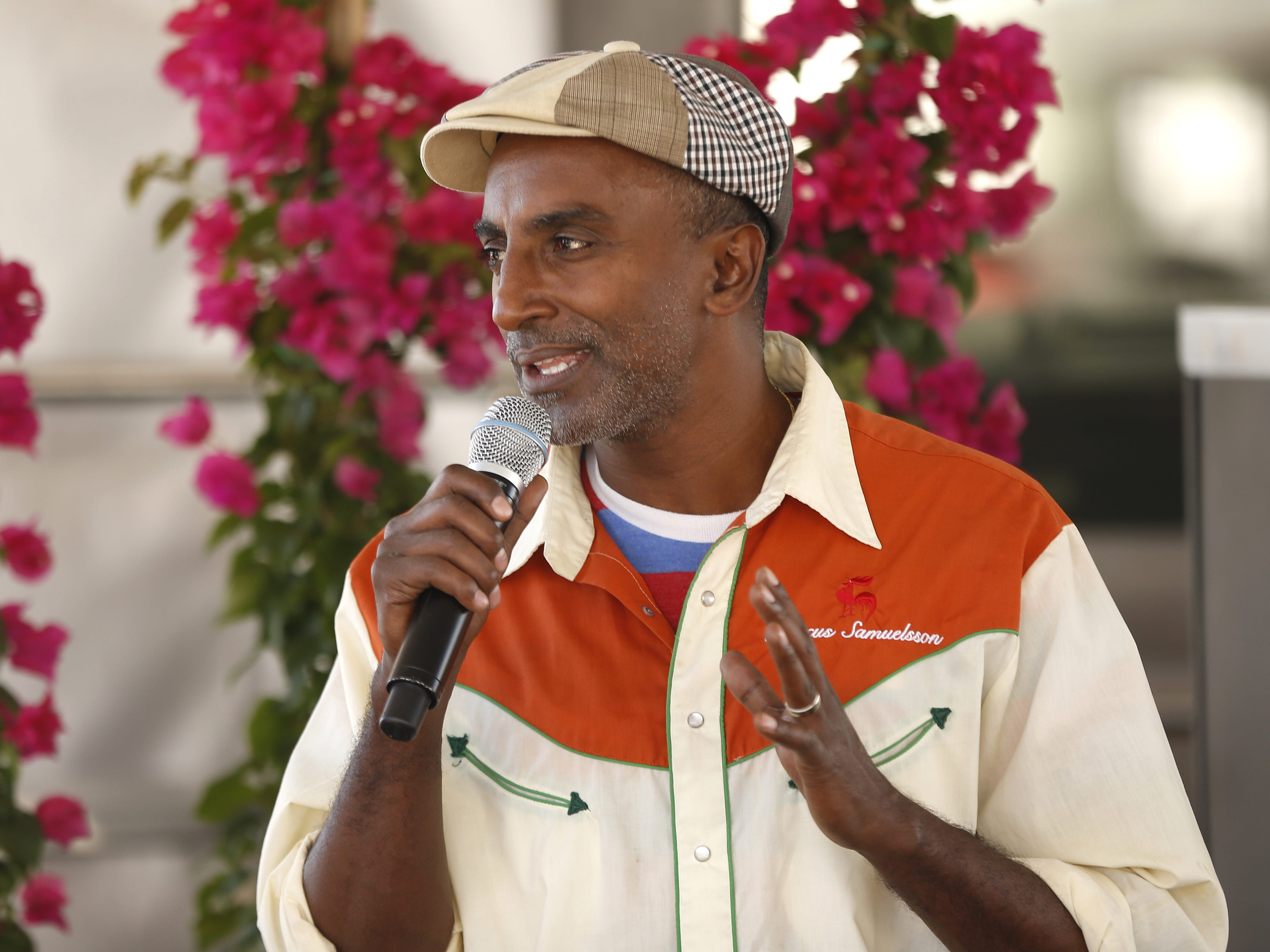 Chef Marcus Samuelsson talks with VIP guests during the azcentral Wine & Food Experience at WestWorld of Scottsdale, Ariz. on Nov. 3, 2018.