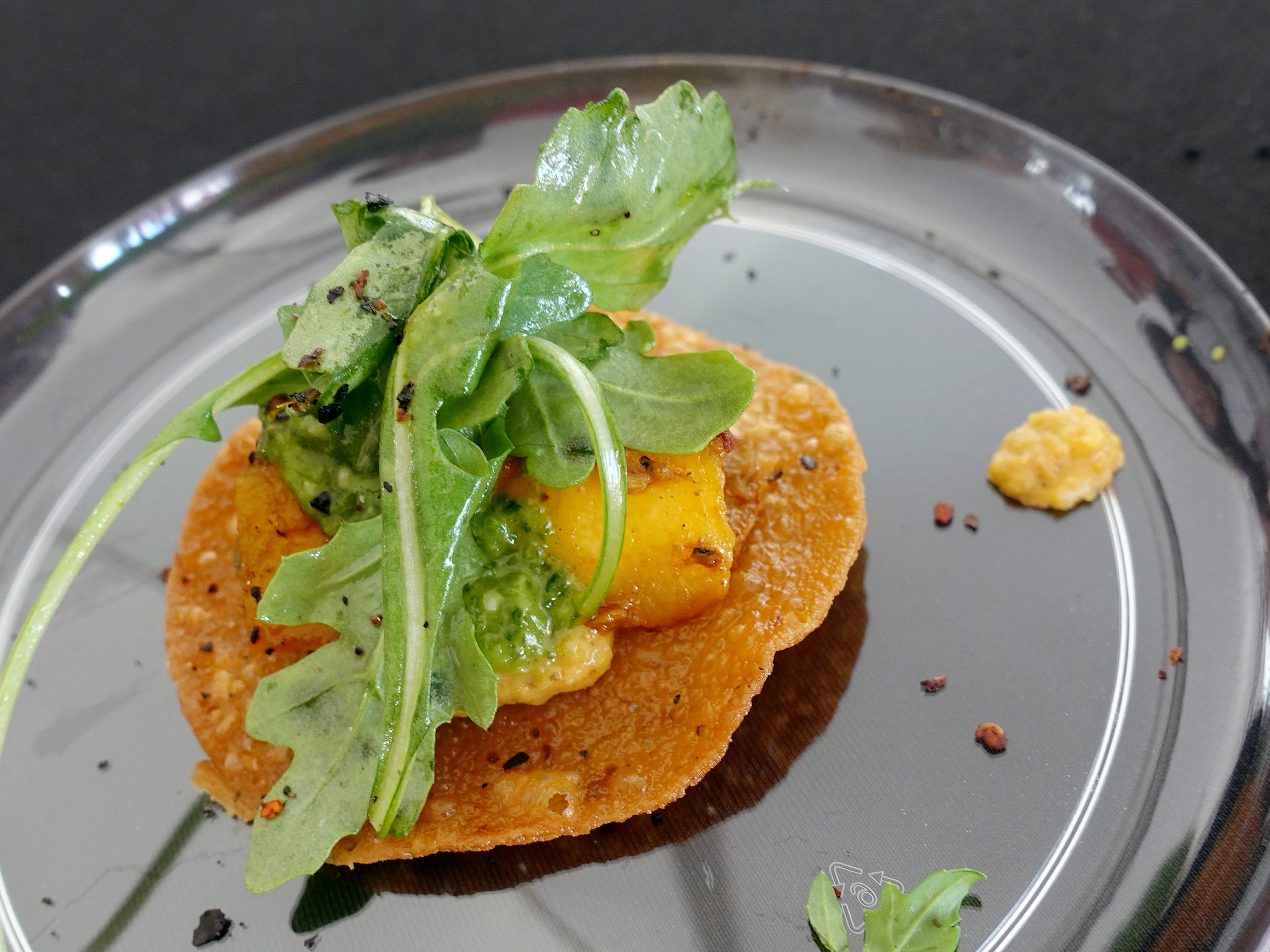 "Hatch chile ""crepe-stada"" with barbecued acorn squash, Somali spiced creamed butternut, arugula and pesto from Crepe Bar at azcentral Wine & Food Experience 2018."