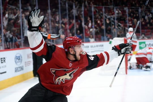 Nov 2, 2018: Arizona Coyotes right wing Michael Grabner (40) celebrates after scoring the game winning goal against the Arizona Coyotes during the overtime period at Gila River Arena.