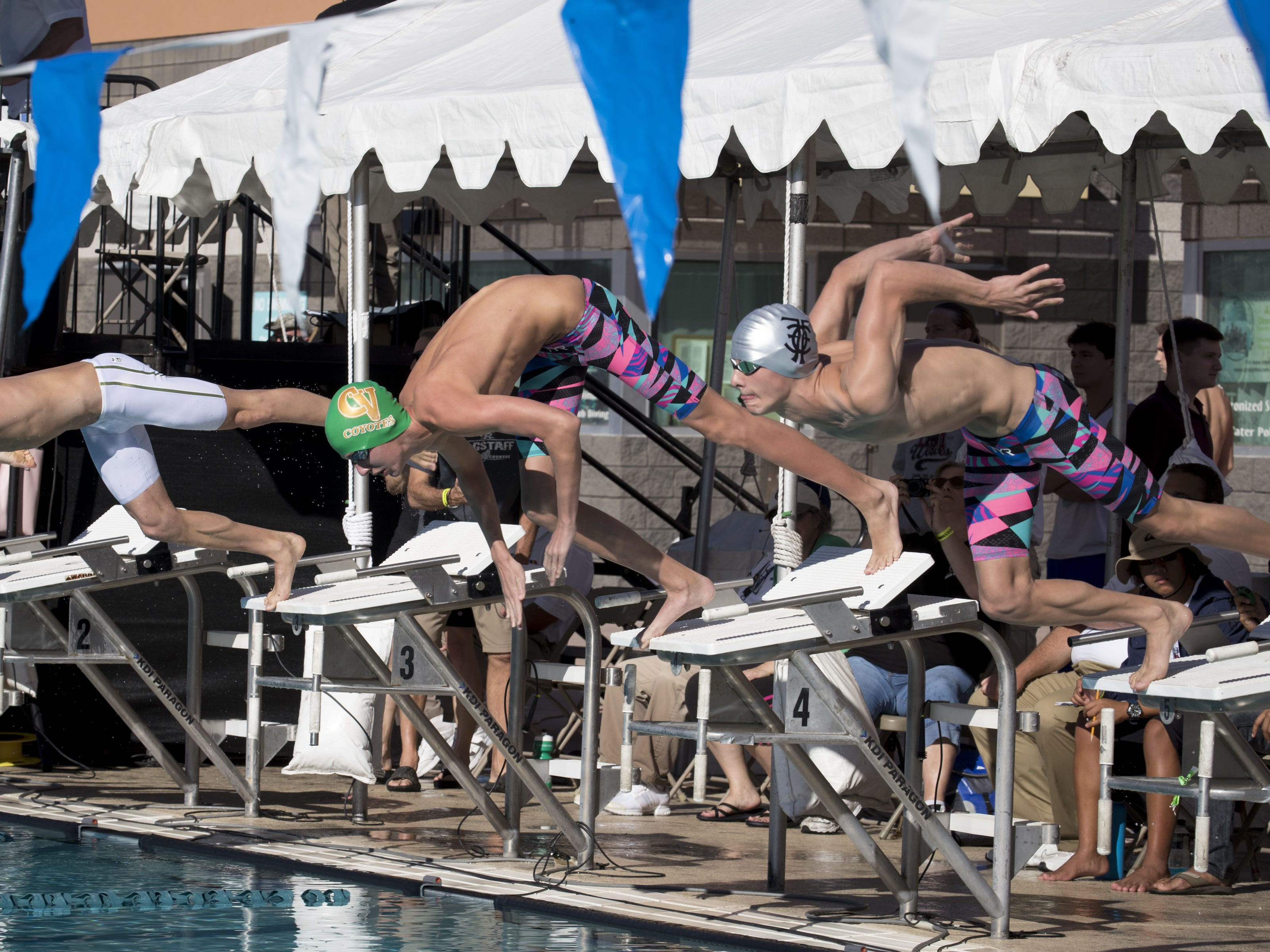 The start of Heat 1 during the 50 Freestyle, November 3, 2018, during the AIA Division II state swimming finals at the Skyline Aquatic Center, Mesa.