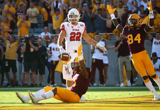 Arizona State wide receiver N'Keal Harry reacts after diving into the endzone for a touchdown against Utah in the second half on Nov. 3 at Sun Devil Stadium.