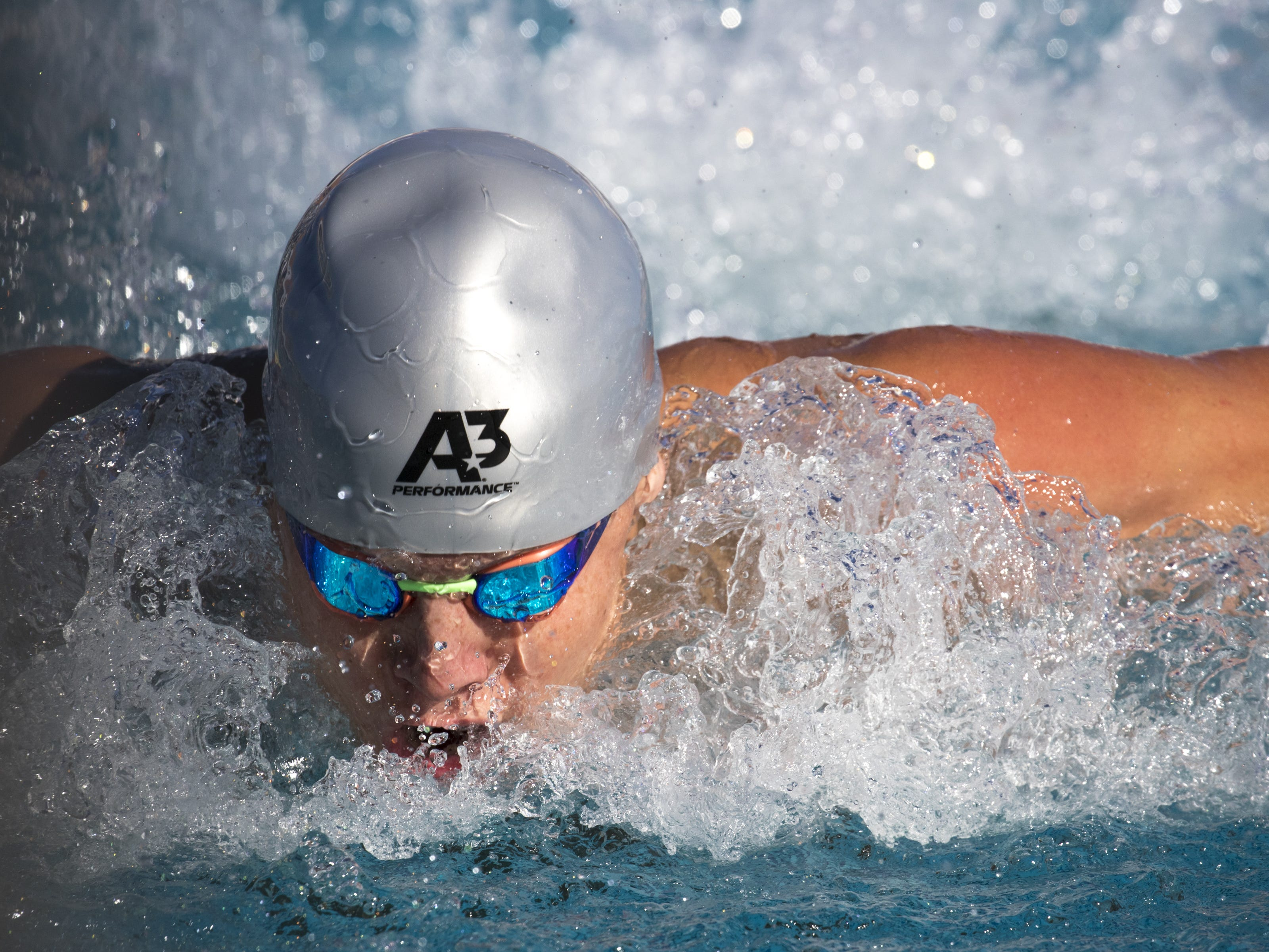 Tanner Falls (Desert Mountain) swims the 200 IM, November 3, 2018, during the AIA Division II state swimming finals at the Skyline Aquatic Center, Mesa.
