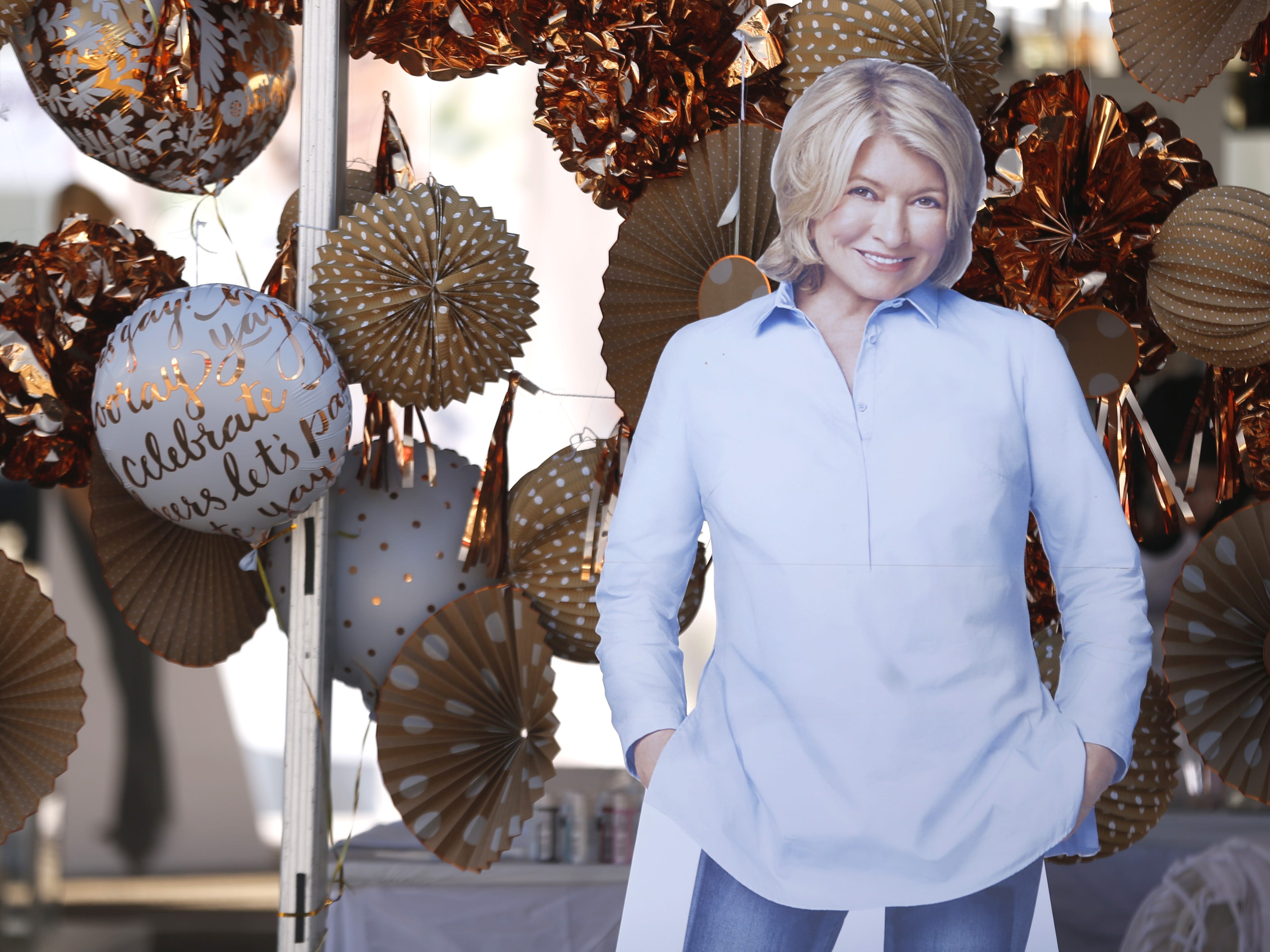 A posterboard of Martha Stewart sits outside her tent during the azcentral Wine and Food Experience at WestWorld of Scottsdale on Nov. 3, 2018.