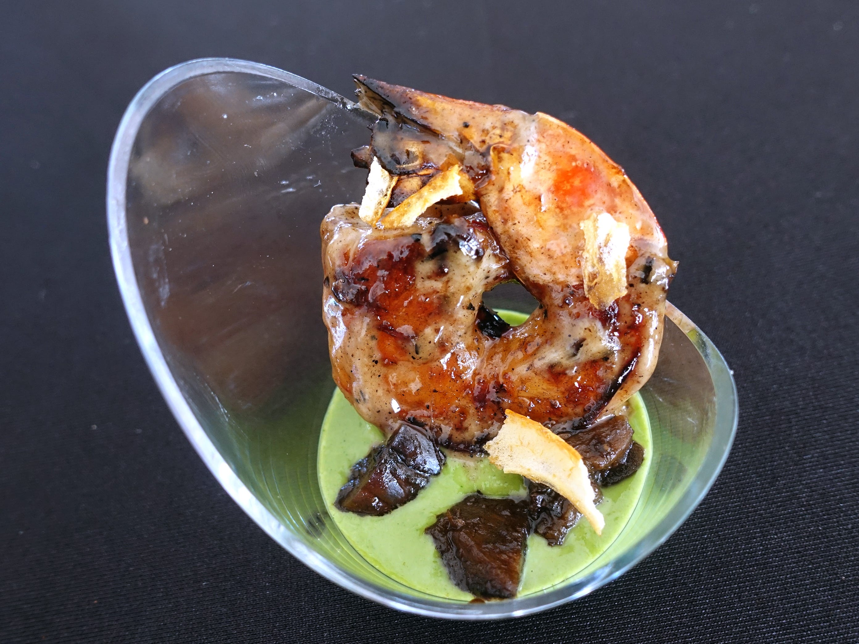 Miso-marinated shrimp with basil aioli, eggplant, black garlic ponzu and shattered citrus from Mowry & Cotton at azcentral Wine & Food Experience 2018 at WestWorld of Scottsdale, Saturday, Nov. 3, 2018.