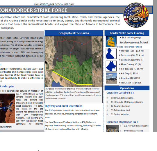 This document from the Department of Public Safety shows the geographical focus area of the Border Strike Force.