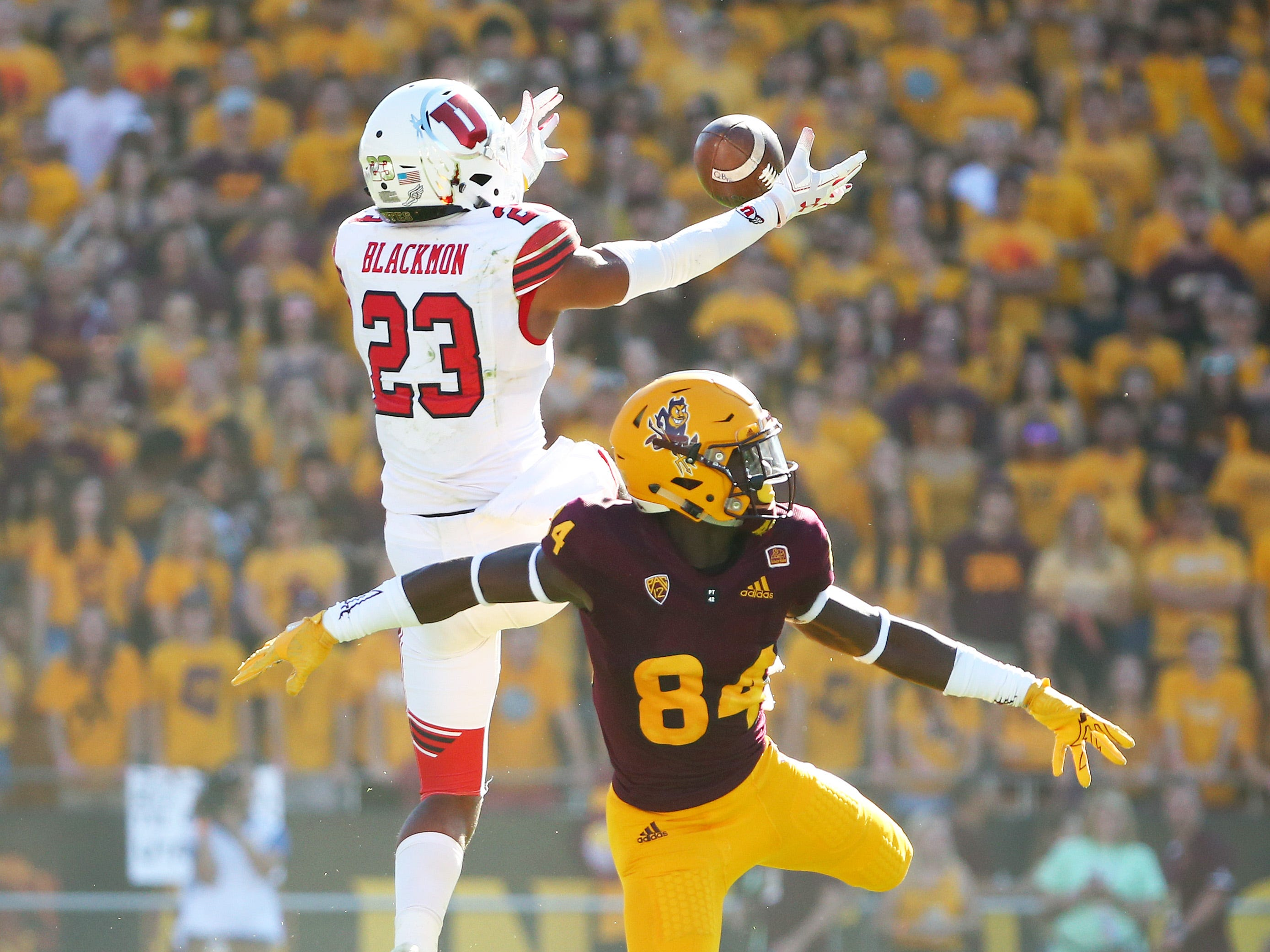 Utah defensive back Julian Blackmon breaks-up the pass to Arizona State's C.J. Jarmon in the first half on Nov. 3 at Sun Devil Stadium.