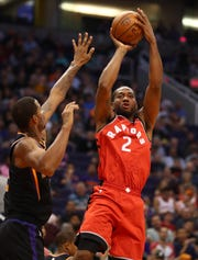 Raptors forward Kawhi Leonard had 19 points with six rebounds and five assists against the Suns.