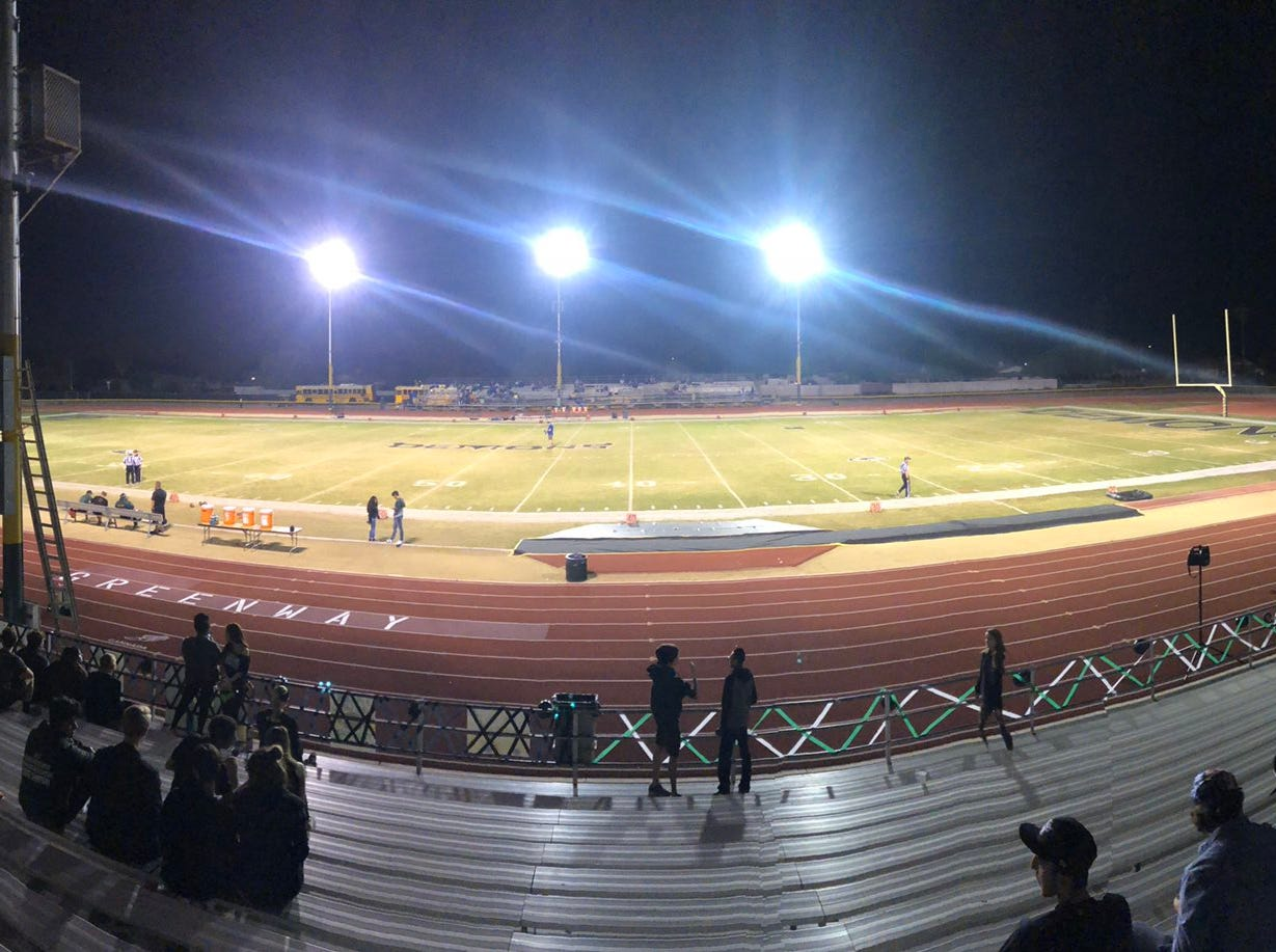A view of the field at Phoenix Greenway High school before a playoff game against Prescott on Nov. 2, 2018.