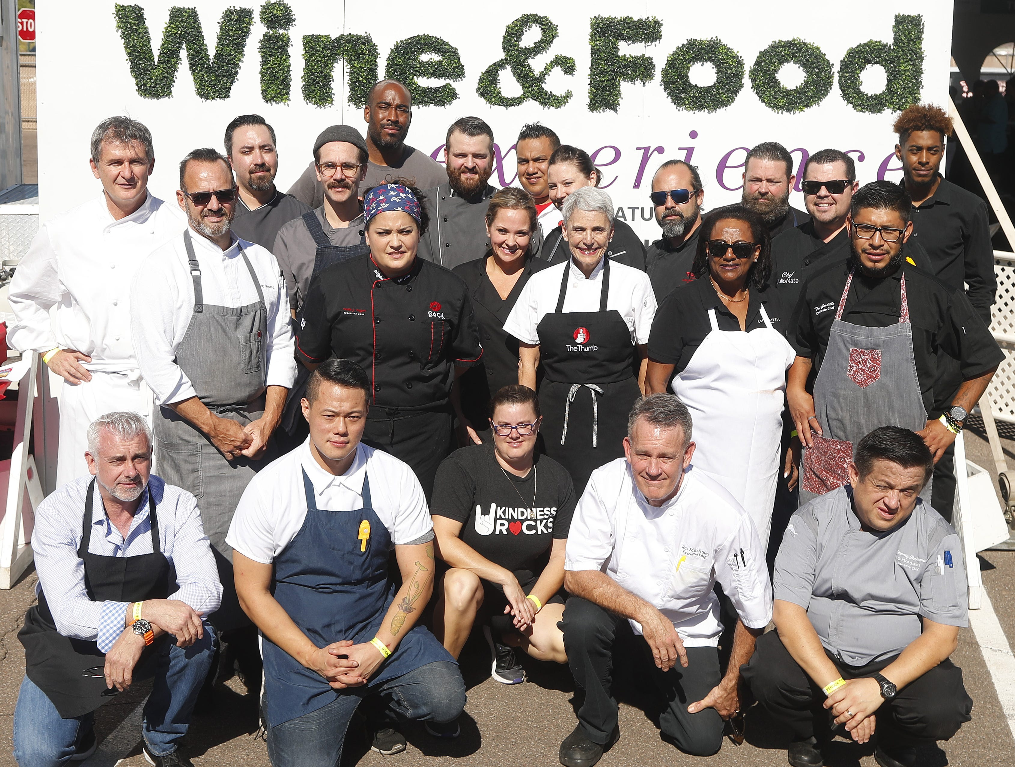Chefs line up for a group photograph during the azcentral Wine & Food Experience at WestWorld of Scottsdale on Nov. 3, 2018.