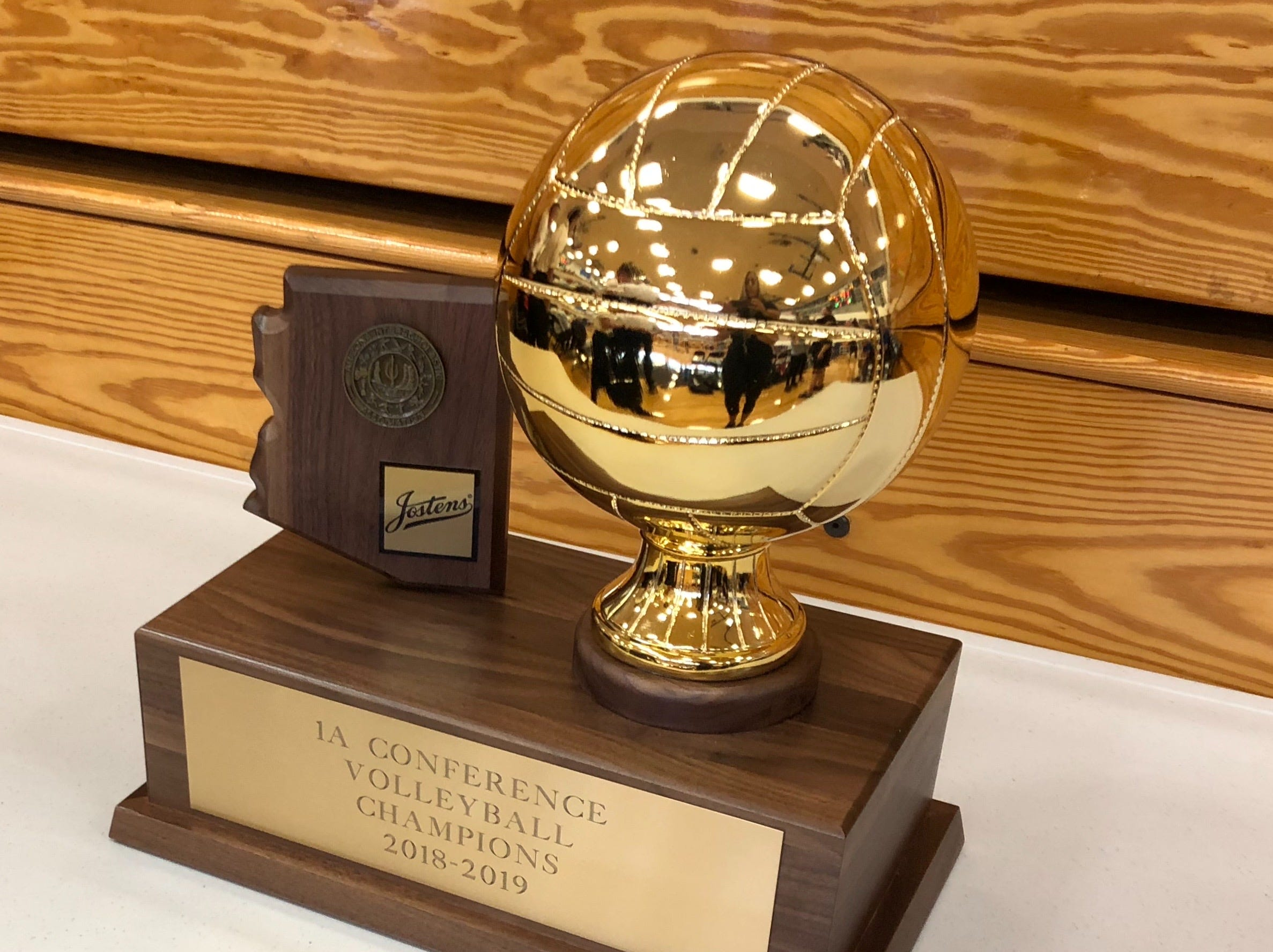 The 1A volleyball championship trophy.