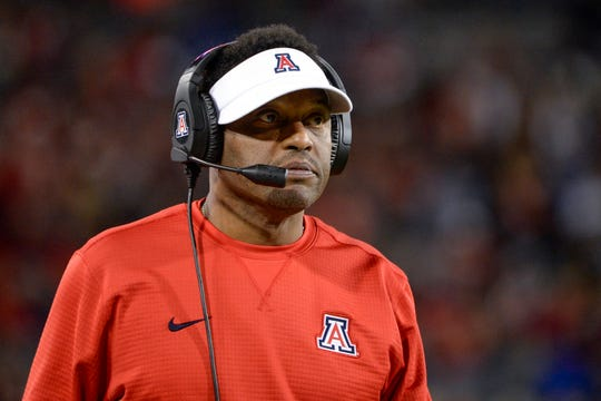 Nov 2, 2018; Tucson, AZ, USA; Arizona Wildcats head coach Kevin Sumlin watches from the sideline during the first half against the Colorado Buffaloes at Arizona Stadium.
