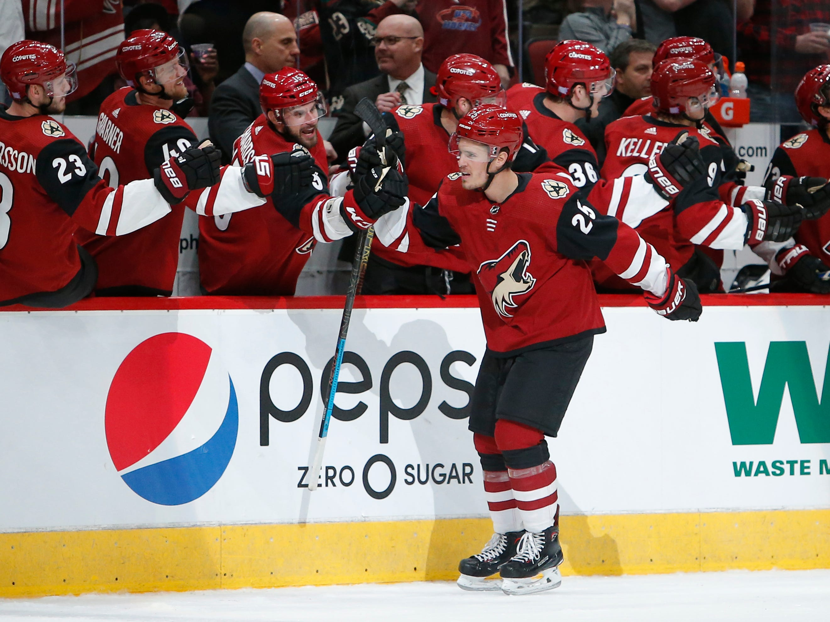 Arizona Coyotes center Nick Cousins (25) celebrates with teammates after scoring a goal against the Carolina Hurricanes during the first period of an NHL hockey game Friday, Nov. 2, 2018, in Glendale, Ariz. (AP Photo/Rick Scuteri)