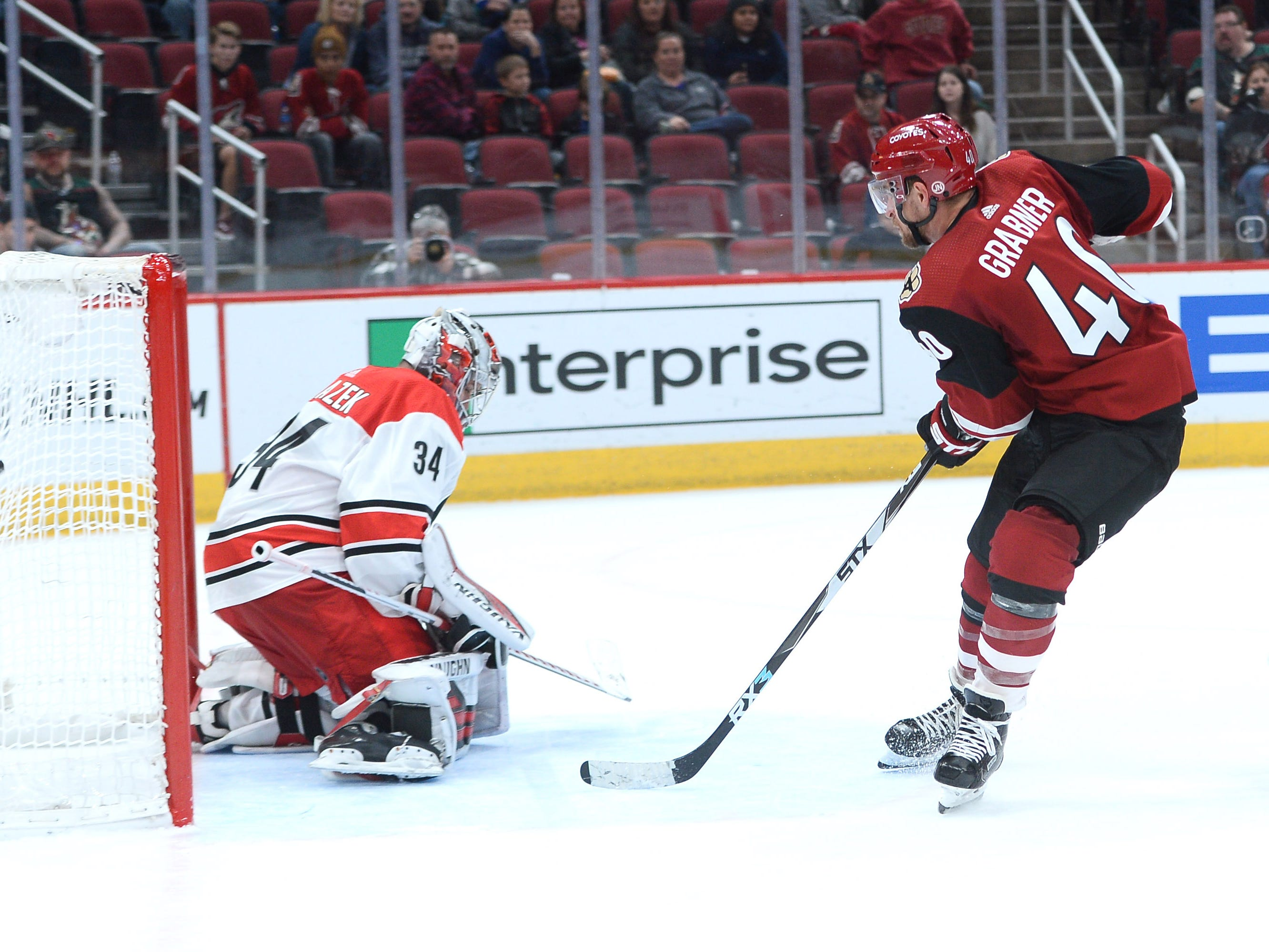 Nov 2, 2018: Arizona Coyotes right wing Michael Grabner (40) shoots and scores the game winning goal against Carolina Hurricanes goaltender Petr Mrazek (34) during the overtime period at Gila River Arena.