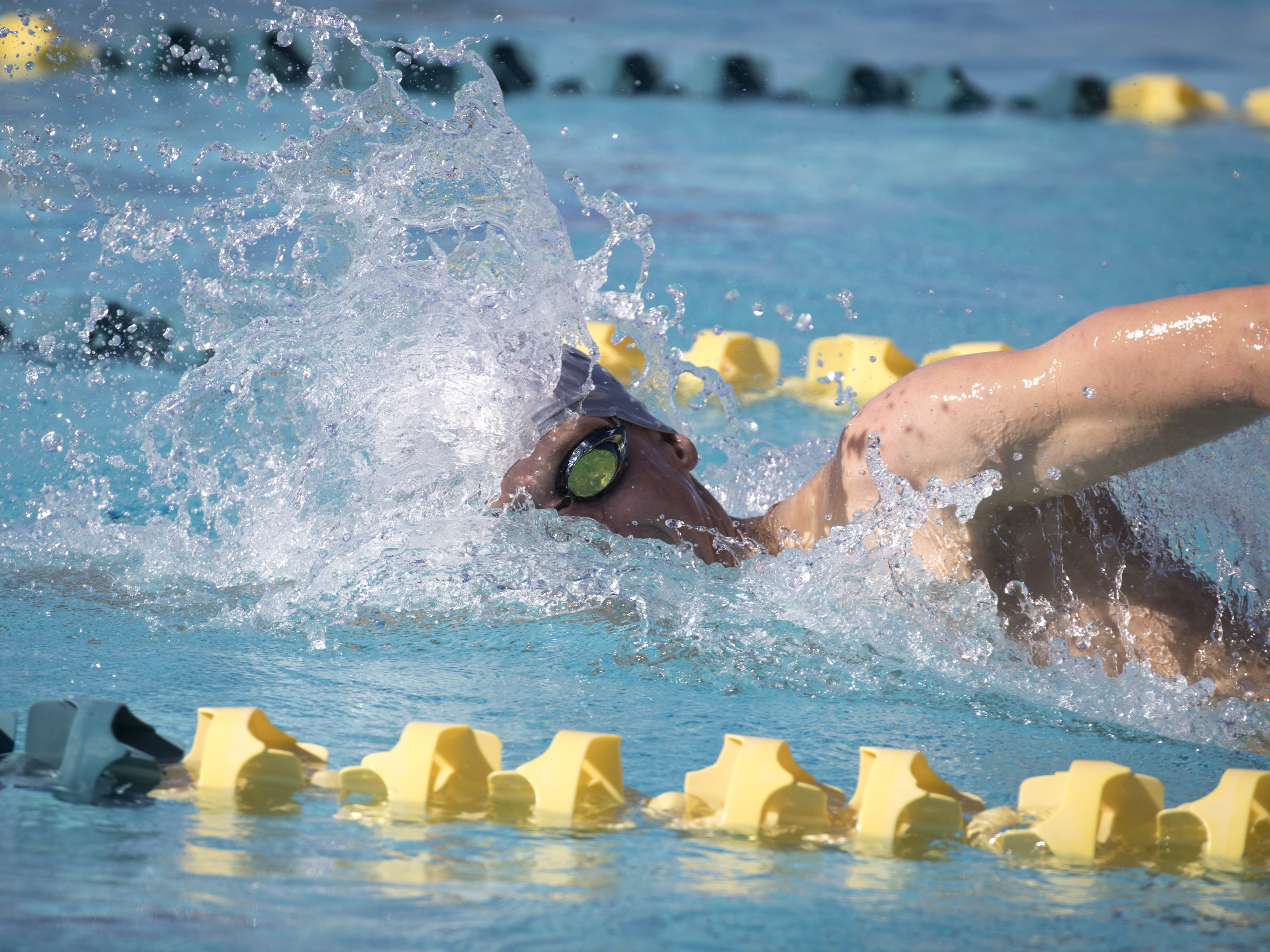 Scott Pekarske (Desert Mountain) swims the 500 Freestyle, November 3, 2018, during the AIA Division II state swimming finals at the Skyline Aquatic Center, Mesa. Pekarske won the event.
