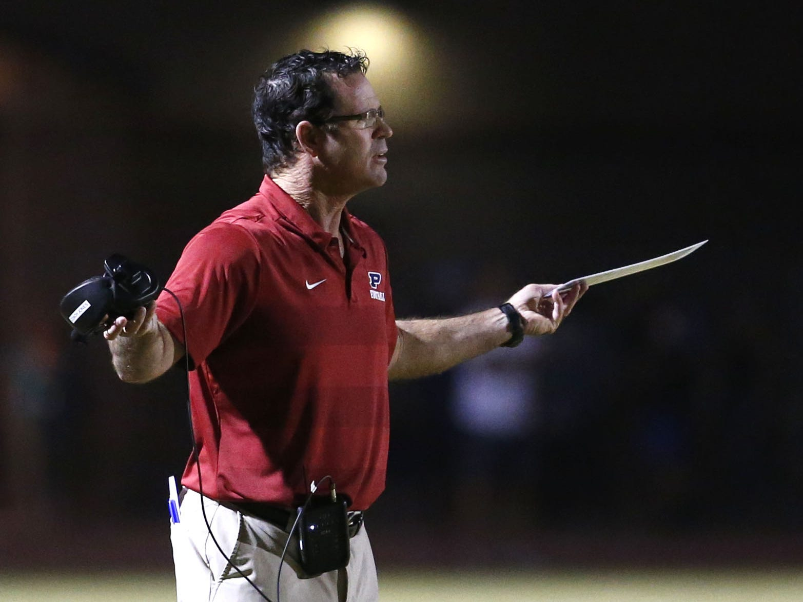Perry head coach Preston Jones reacts on the sidelines during a football game against Basha at Perry High School on November 2. #azhsfb