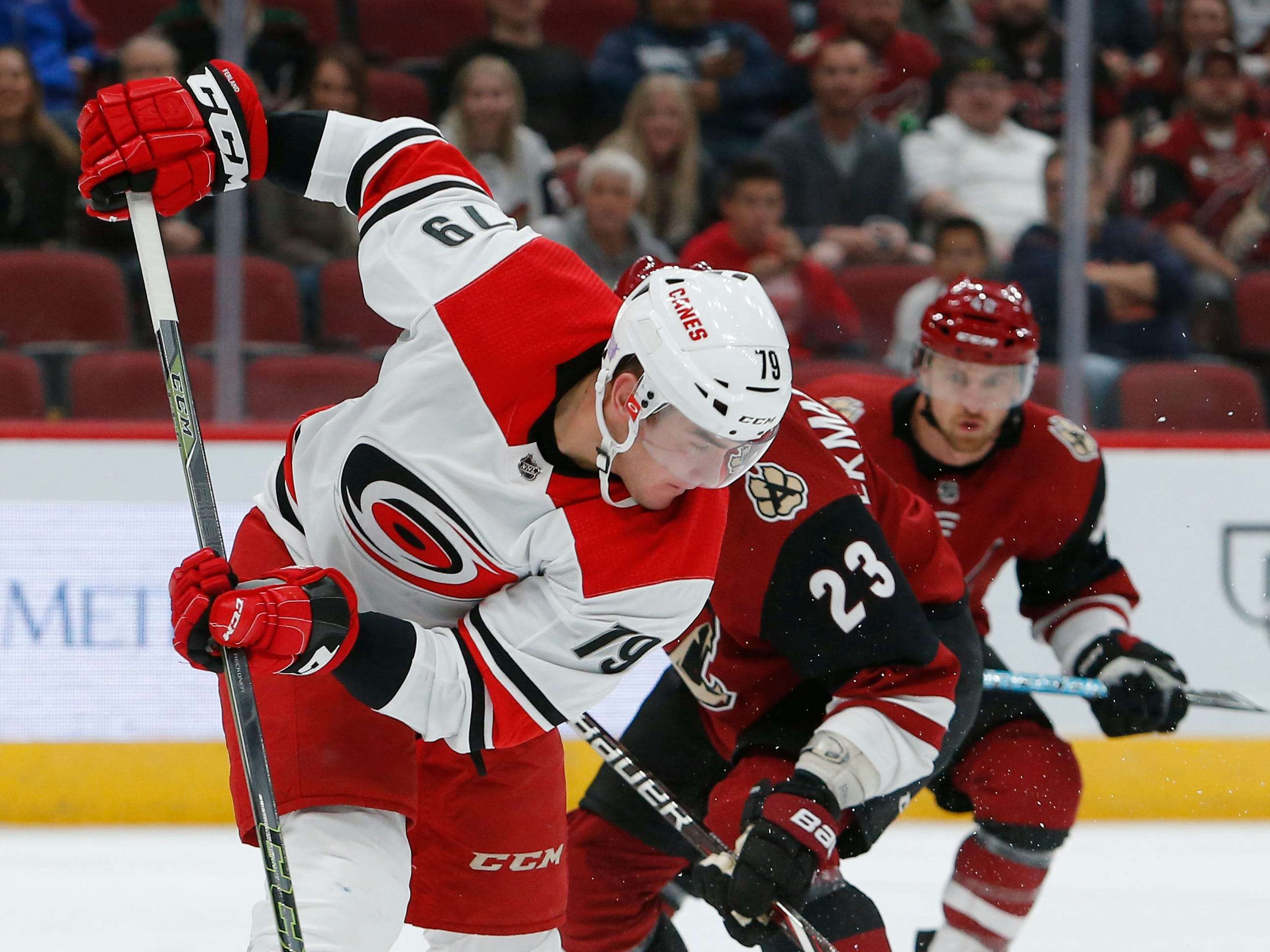 Carolina Hurricanes left wing Micheal Ferland (79) in the first period during an NHL hockey game against the Arizona Coyotes, Friday, Nov. 2, 2018, in Glendale, Ariz. (AP Photo/Rick Scuteri)