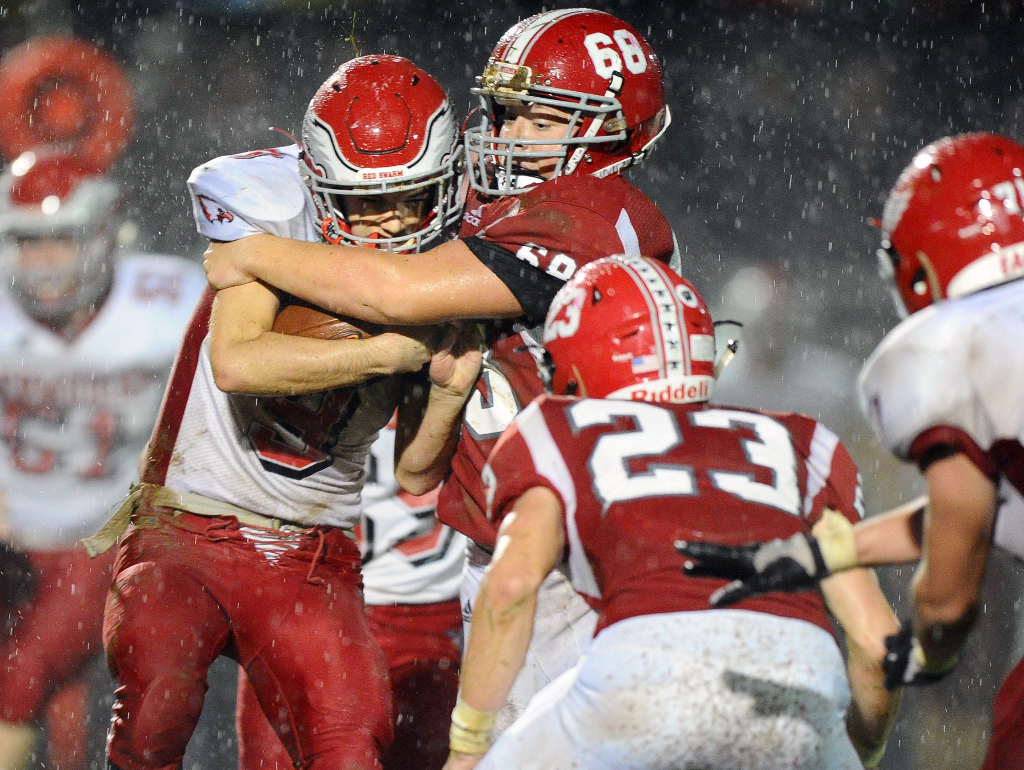 A-C's Logan Wagner (68) stands up Bermudian Springs Domenic Florea (9) during 2nd Qt.action   in a District III 3A playoff game Friday Nov.2,2018 at Annville-Cleona High School.