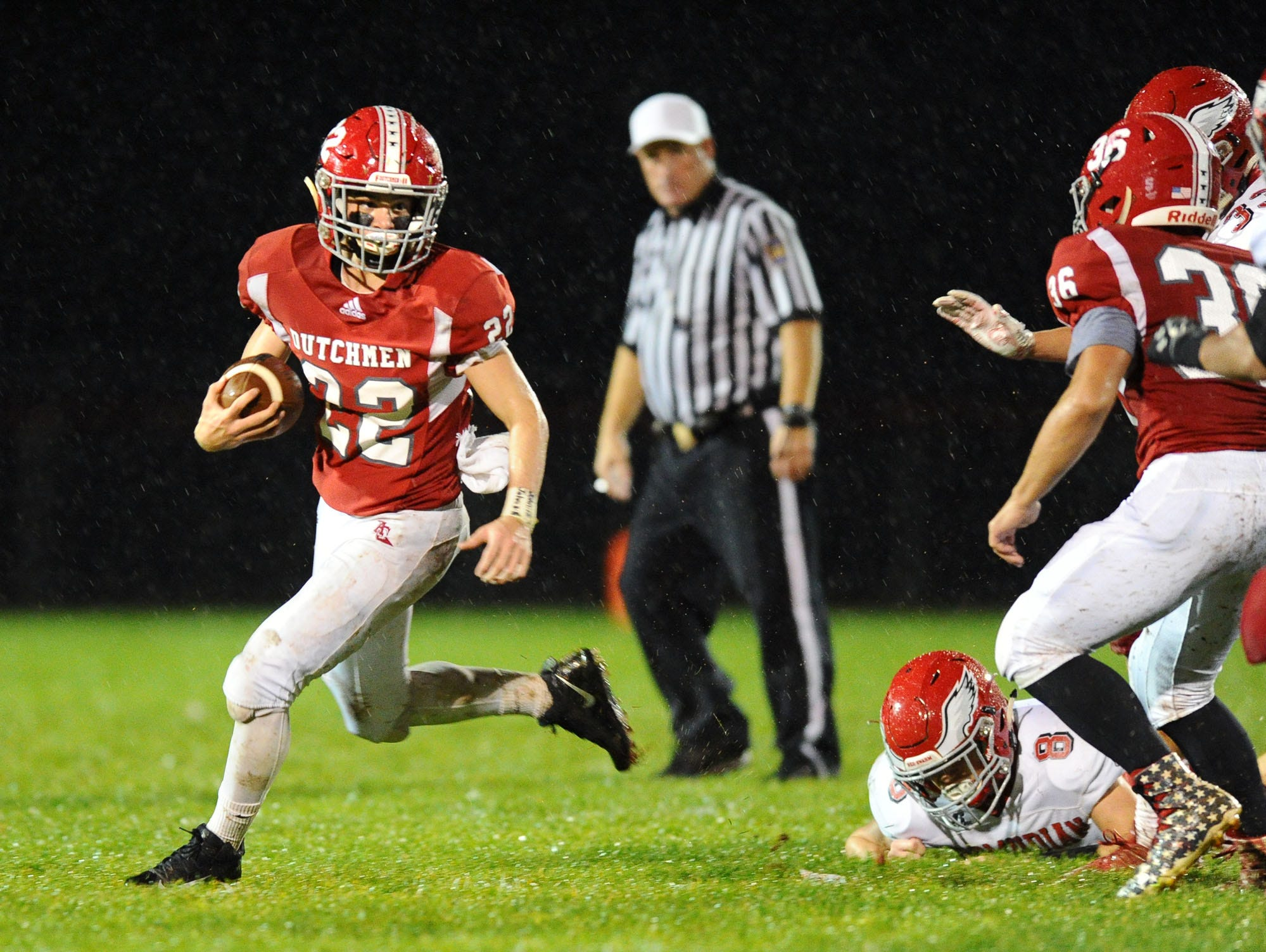 A-C's Tyler Long (22) looks to get outside on this first half run in a District III 3A playoff game Friday Nov.2,2018 at Annville-Cleona High School.
