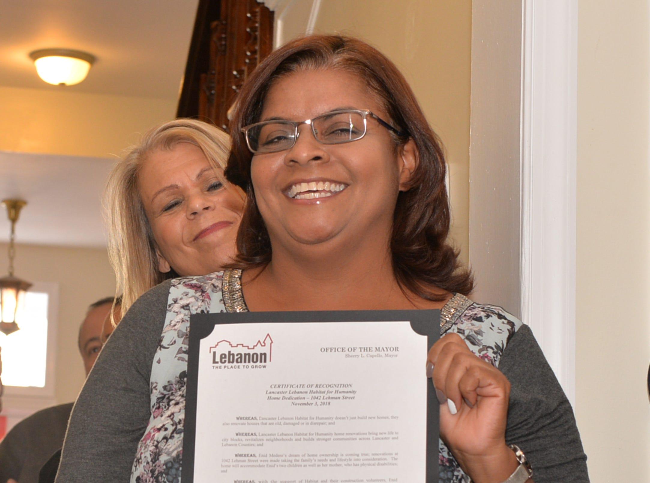 Lancaster Lebanon Habitat for Humanity presented the keys to 1042 Lehman Street, Lebanon to Enid Medero and her family on Saturday, November 3, 2018.