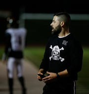 Marlboro football coach Brian Beck looks on during the Section 9 Class B final against James I. O'Neill in November 2018.