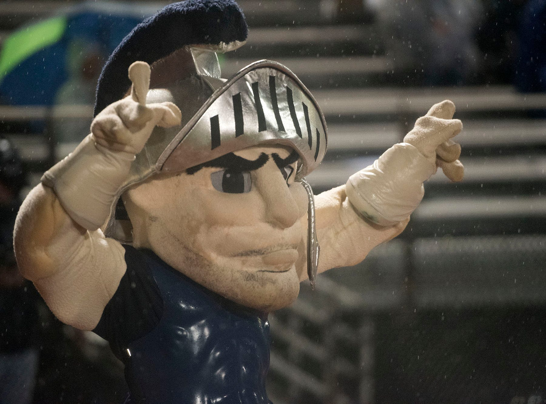 The Trojan mascot cheers for the team. Chambersburg Trojans dropped a close game 20-17 to Manheim Township Blue Streaks in the rain during PIAA District 3 playoff football on Friday, Nov. 2, 2018.