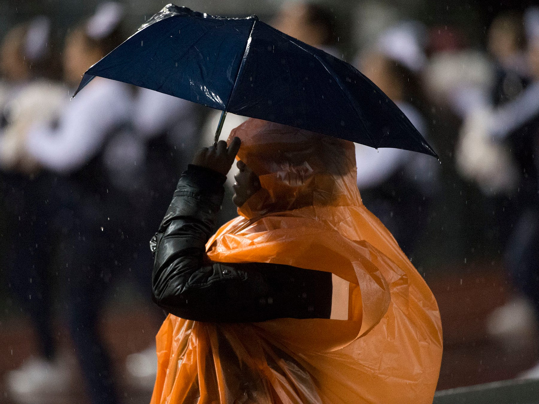 Rain fell for four quarters. Chambersburg Trojans dropped a close game 20-17 to Manheim Township Blue Streaks in the rain during PIAA District 3 playoff football on Friday, Nov. 2, 2018.