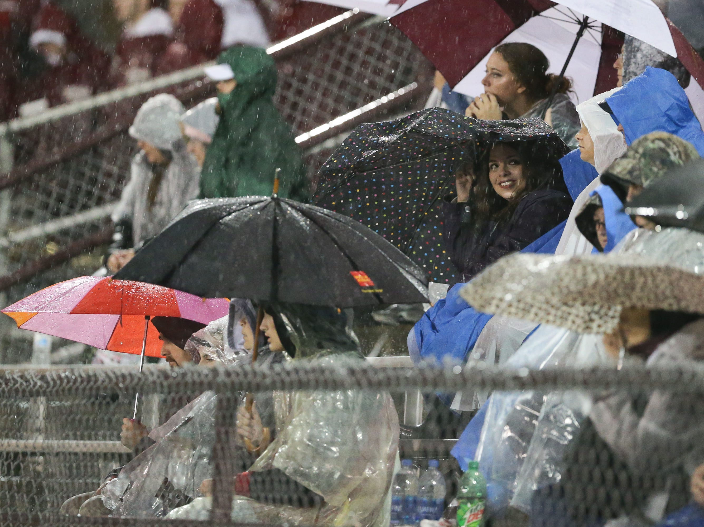 Dedicated fans brave the pouring rain. The Shippensburg Greyhounds defeated Northeastern, 6-0 in a playoff game at Shippensburg on Friday, Nov. 2, 2018.